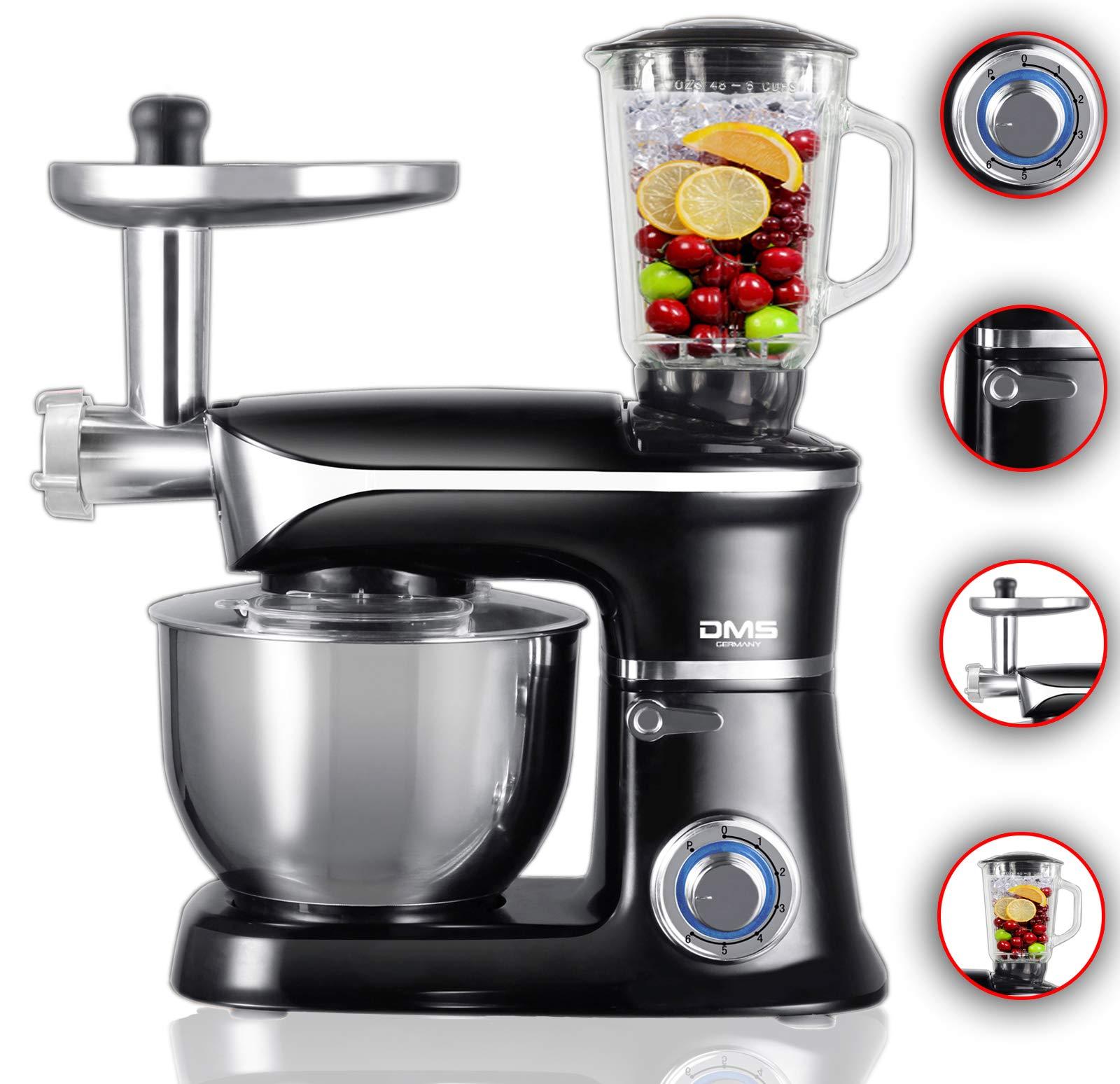 Küchenmaschine Rührmaschine Knetmaschine Teigkneter silber 6,5 L 1900 W max.