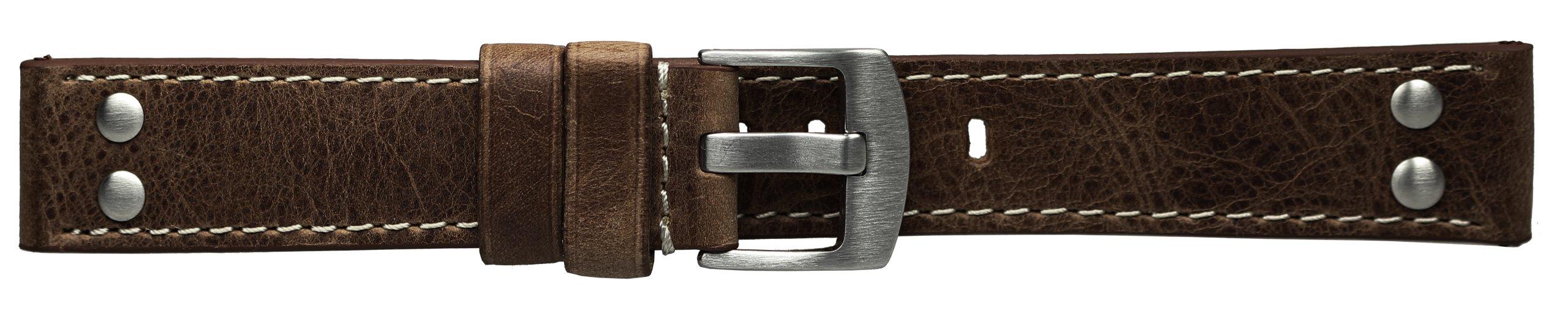 22mm-Dunkelbraunes-Uhrenarmband-Lederarmband-M41-Fliegerarmband-im-Vintage-Stil-weie-Steppnaht-Edelstahl-Doppelnieten