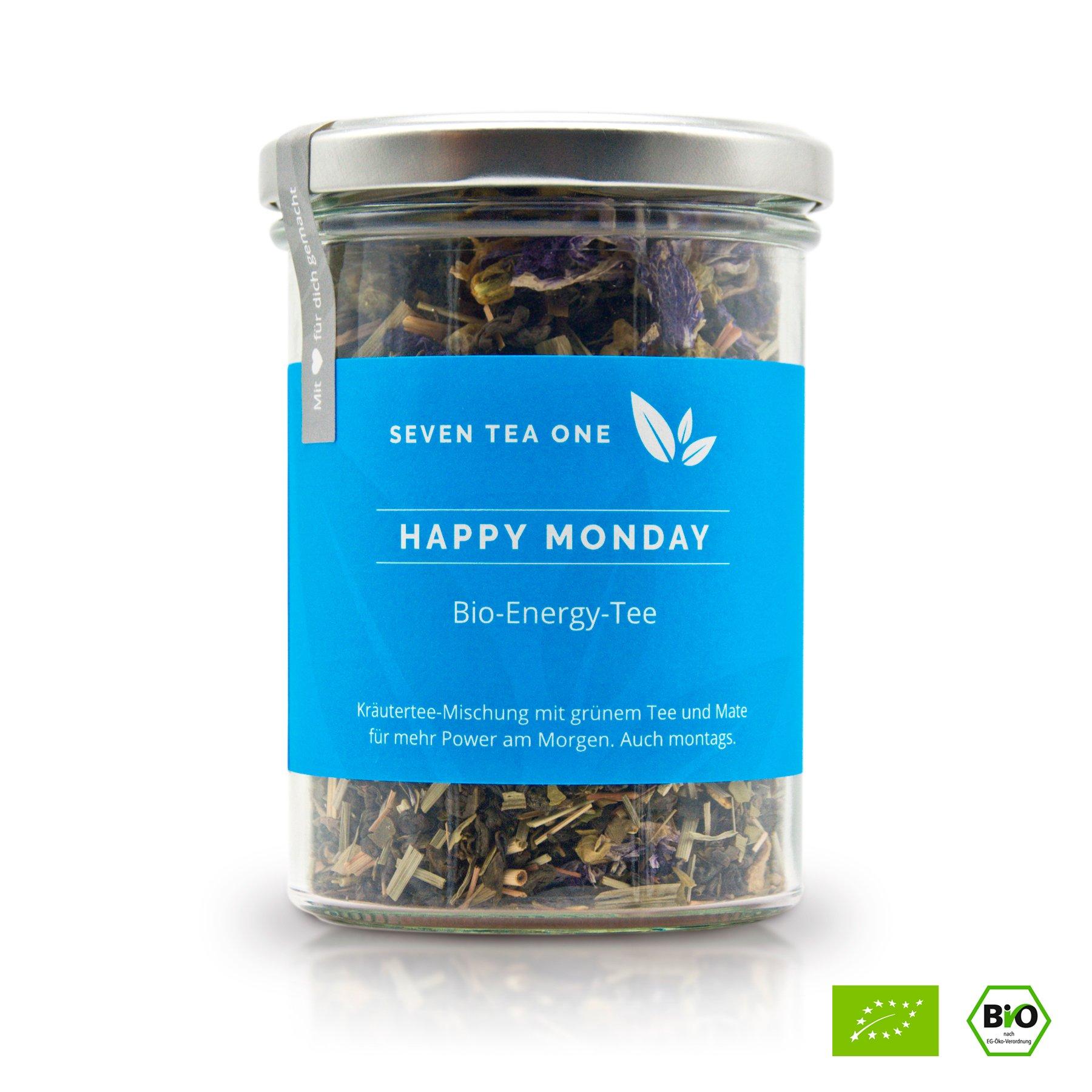 Happy-Monday-Bio-Energy-Tee-mit-viel-Koffein-Energie-die-gesunde-Alternative-zu-Kaffee-100-biologisch-mit-Mate-Guarana-100g-Made-in-Germany