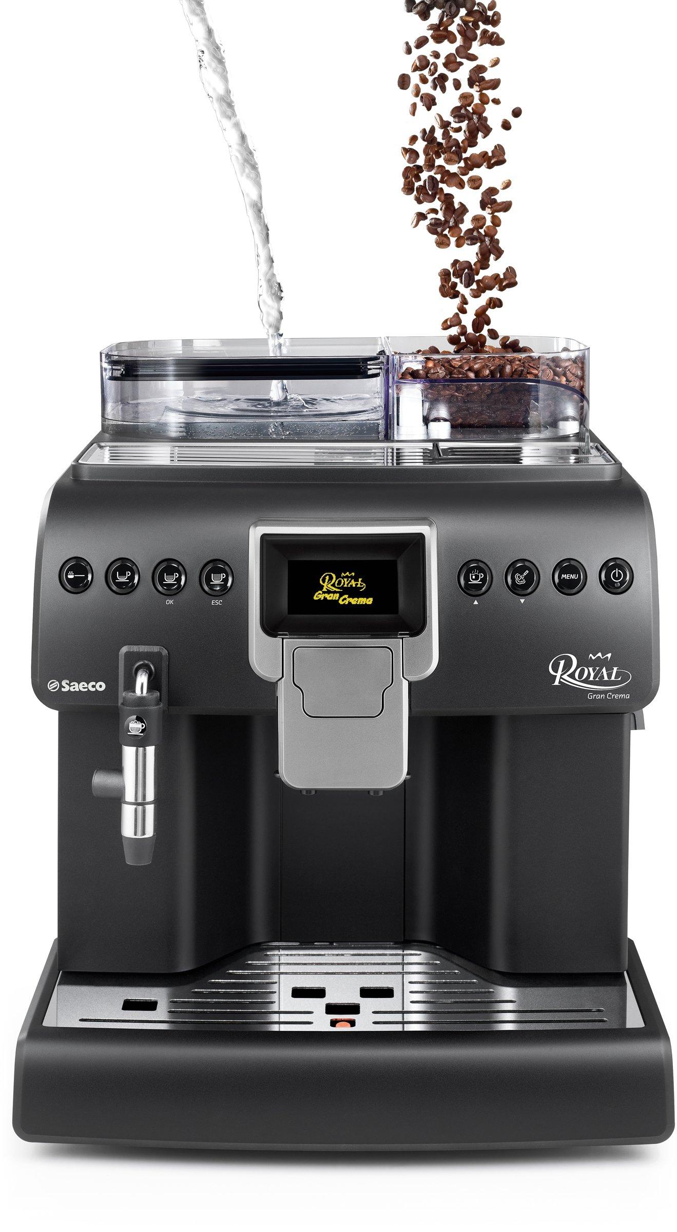 Saeco-HD892001-Kaffee-Vollautomat-Royal-Gran-Crema-Cappuccinatore-Memo-Funktion-Tassenwrmer-groe-Kapazitten-1400-W-matt-schwarz