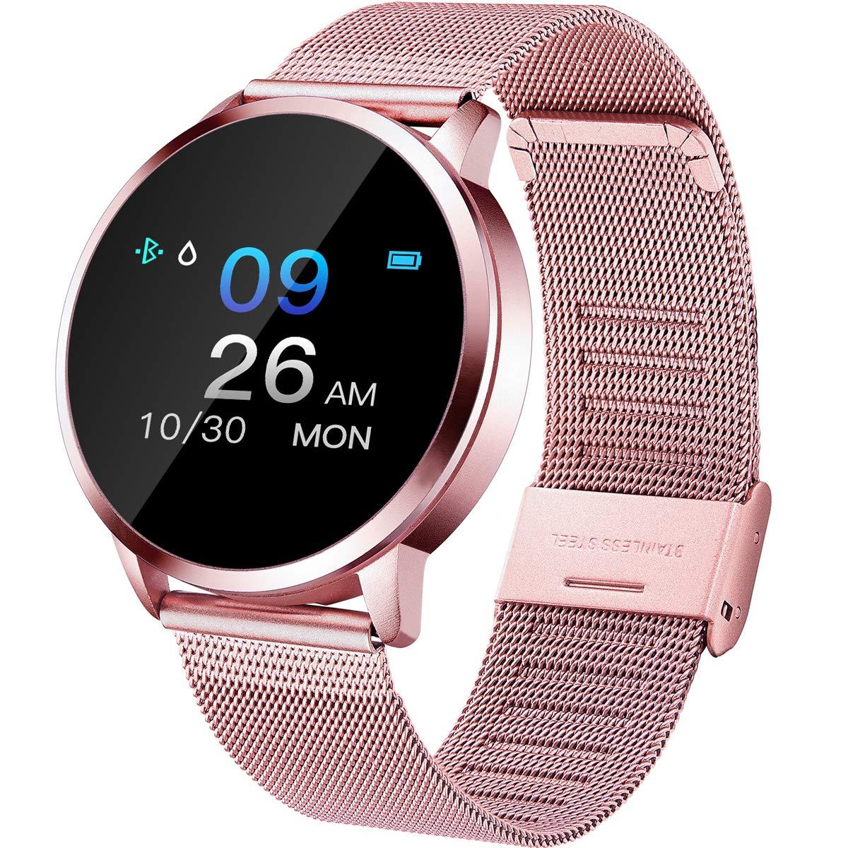 Smartwatch-Herzfrequenz-Pulsmesser-Blutdruck-Schrittzhler-IP67-Wasserdicht-Farbbildschirm-Rosegold-Rosa-Schwarz-Silber-Edelstahl-Fitness-Armband