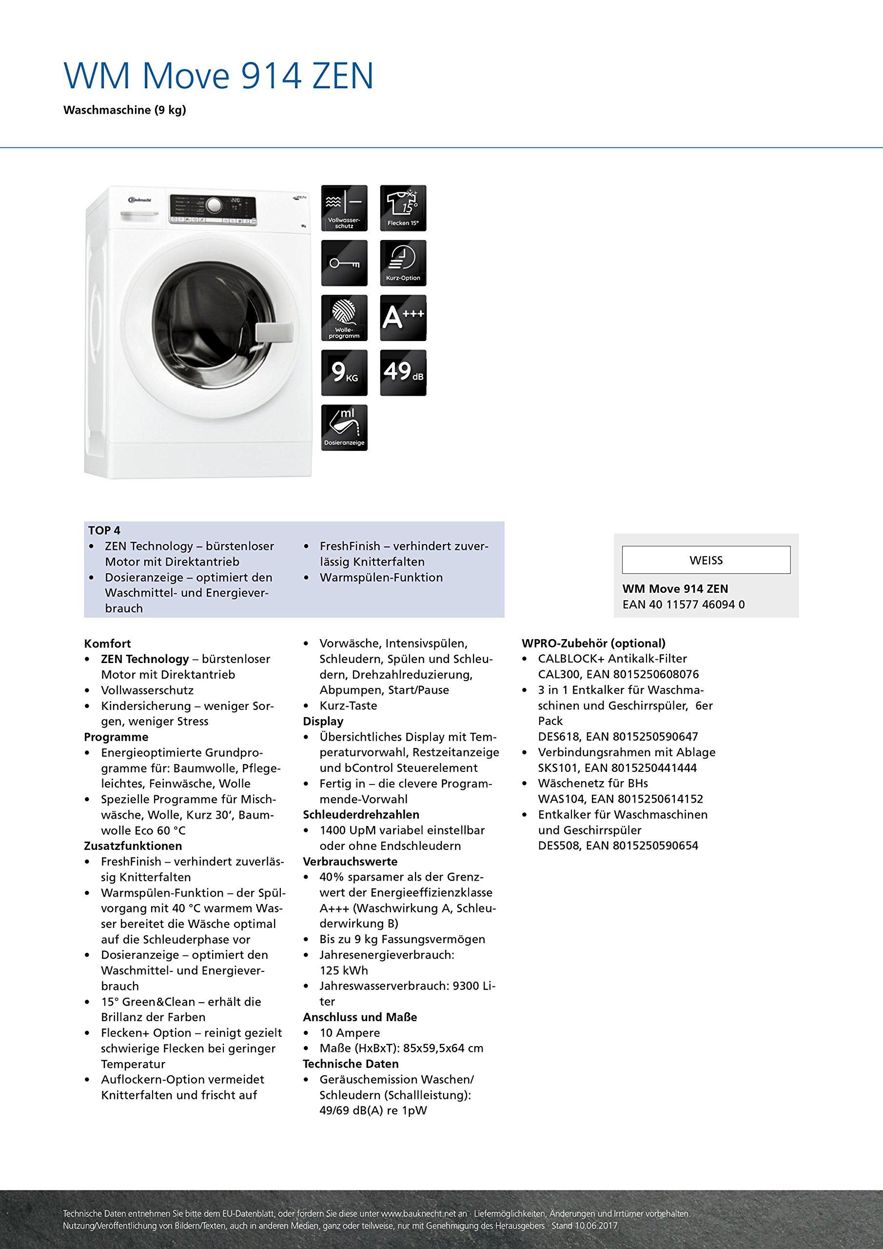 Bauknecht-WM-Move-914-ZEN-A-9-kg-ZEN-Technologie-Dosieranzeige-FreshFinish-Wei