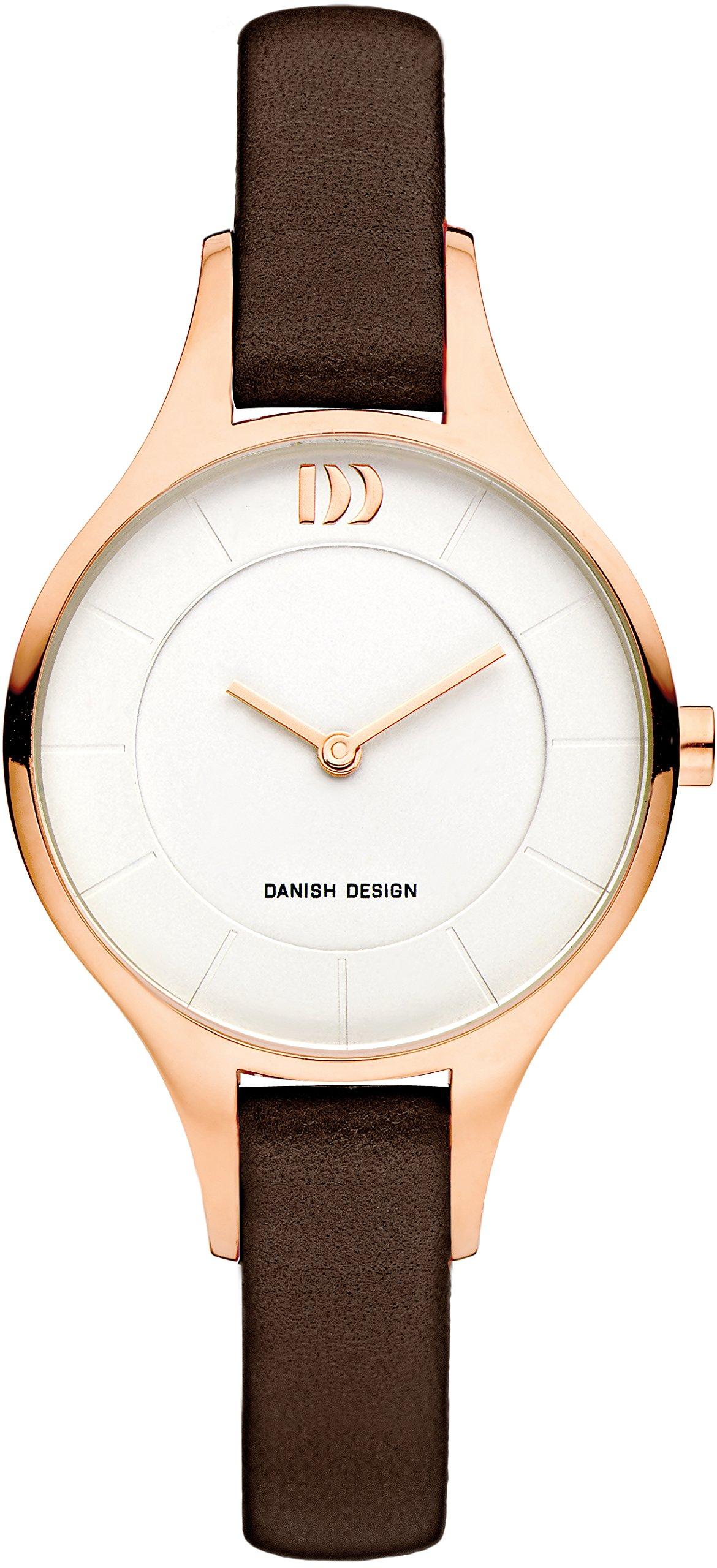 Danish-Design-Damen-Analog-Quarz-Uhr-mit-Leder-Armband-IV17Q1187