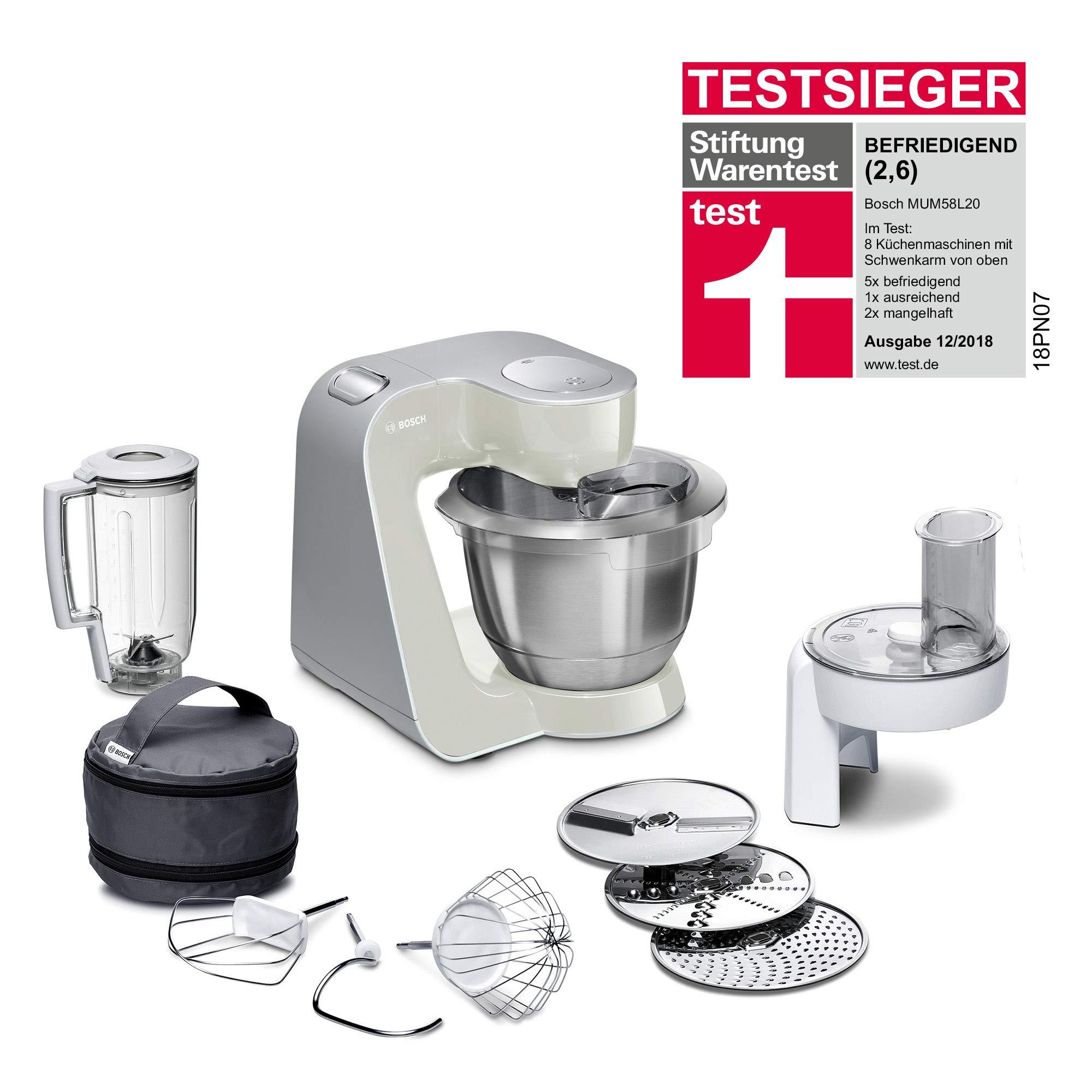 Bosch-MUM5-MUM58L20-CreationLine-Kchenmaschine-1000-W-3-Rhrwerkzeuge-Edelstahl-splmaschinenfest-Rhrschssel-39-Liter-max-Teigmenge-27kg-Durchlaufschnitzler-3-Scheiben-Mixaufsatz-grau