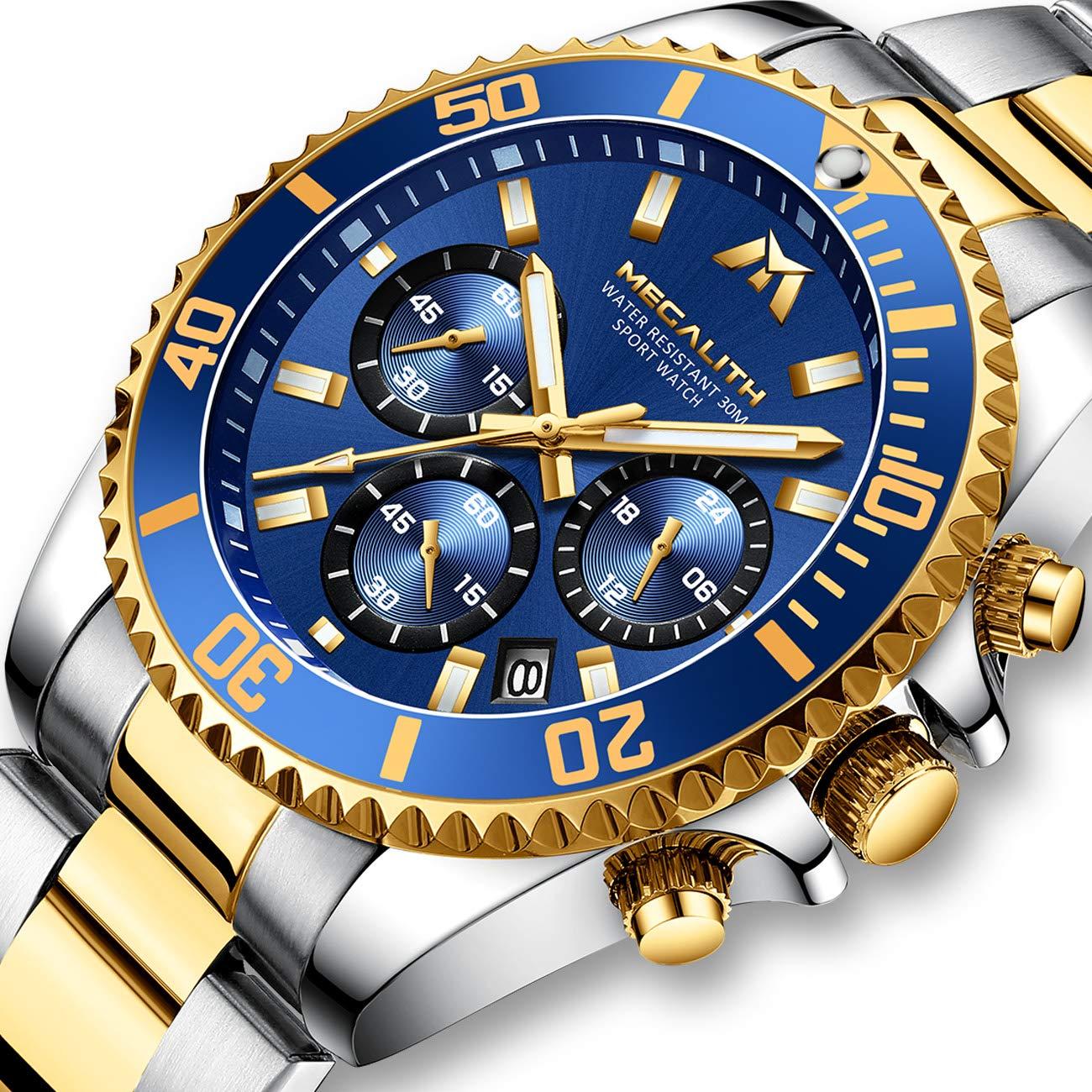 Herren-Uhr-Mnner-Chronographen-Gold-Edelstahl-Wasserdicht-Designer-Armbanduhren-Mann-Militr-Groes-Leuchtende-Analog-Datum-Business-Uhren