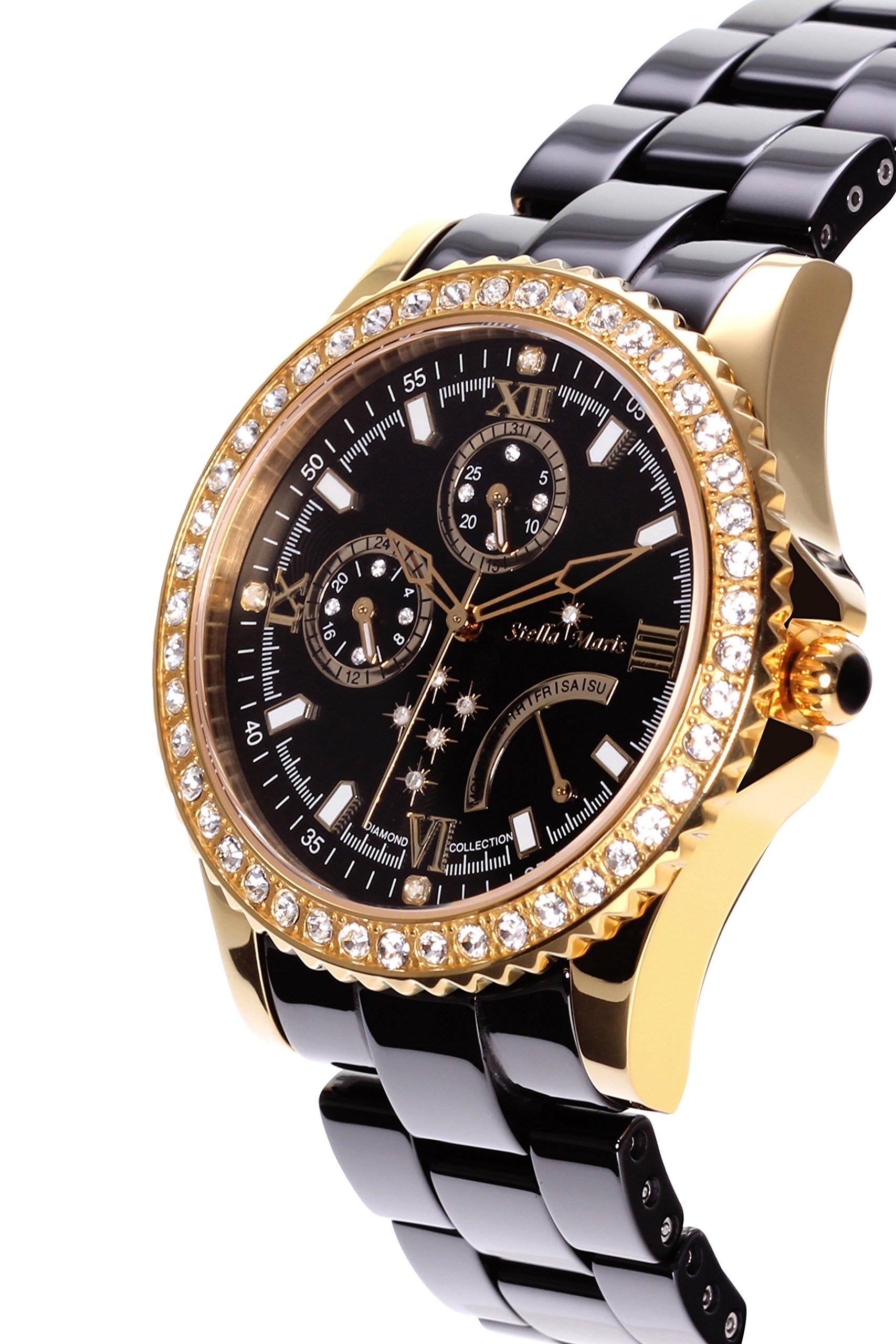 Stella-Maris-Damen-Armbanduhr-Analog-Quarz-Uhr-Stilvolle-Elegante-Damenuhr-Frauenuhr-Schwarz-Gold-Premium-Keramik-Armband-Diamanten-Swarovski-STM15N6