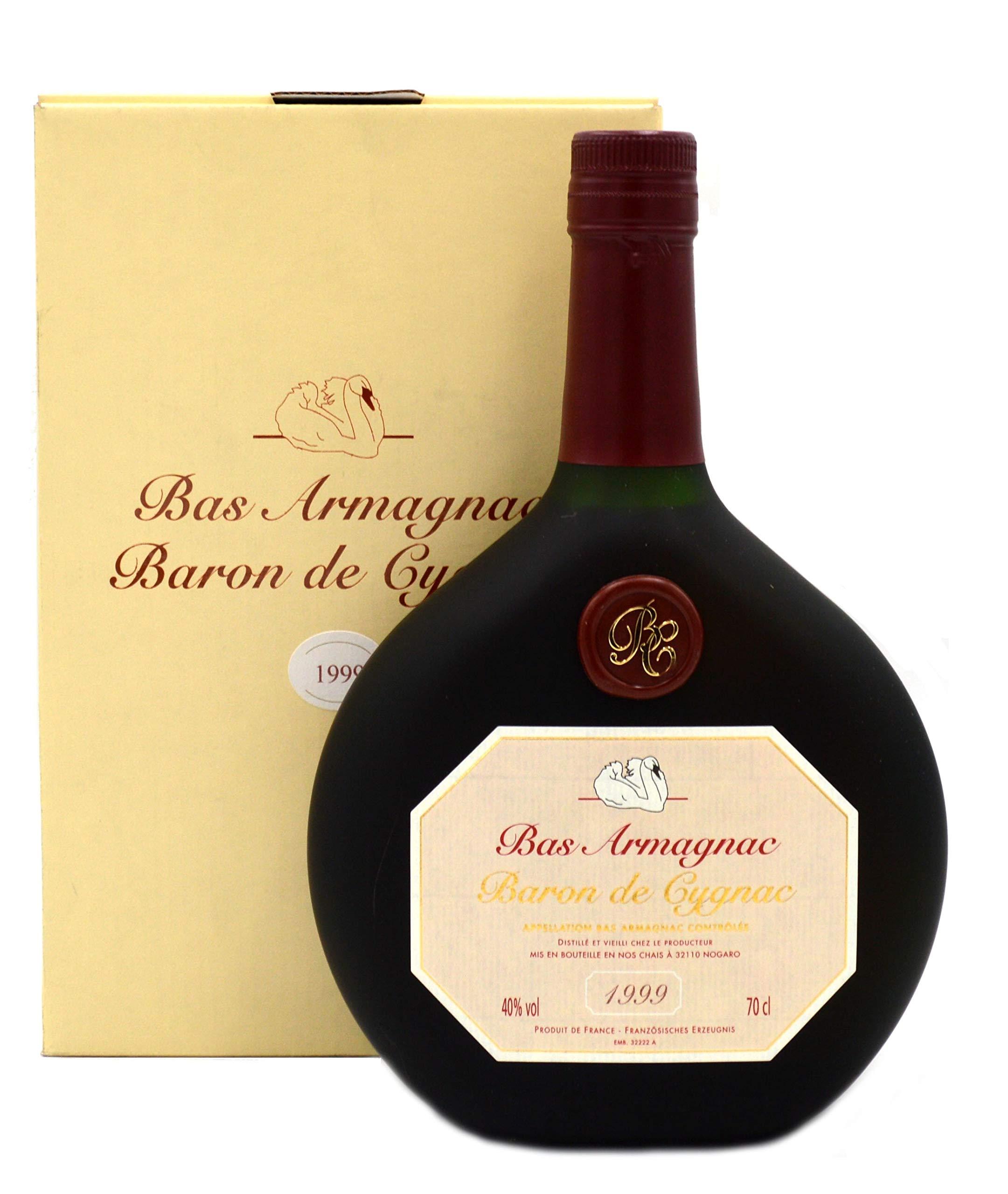 Raritt-Armagnac-Baron-de-Cygnac-07l-Jahrgang-1999-inkl-Geschenkkarton