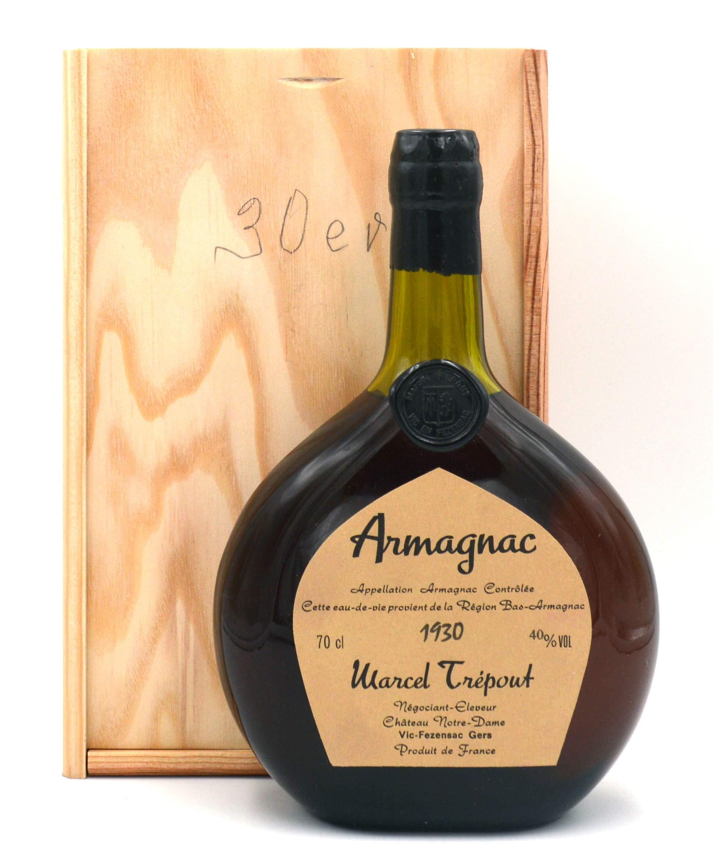 Raritt-Armagnac-Marcel-Trepout-07l-Jahrgang-1930-inkl-Holzkiste
