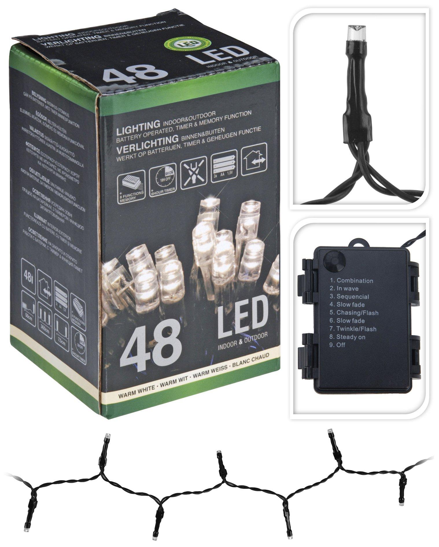 Led-Lichterketten-48-Lmpchen-aussen-innen-warmwei-Timer-Zeitschaltuhr-batteriebetrieben-8-Funktionen