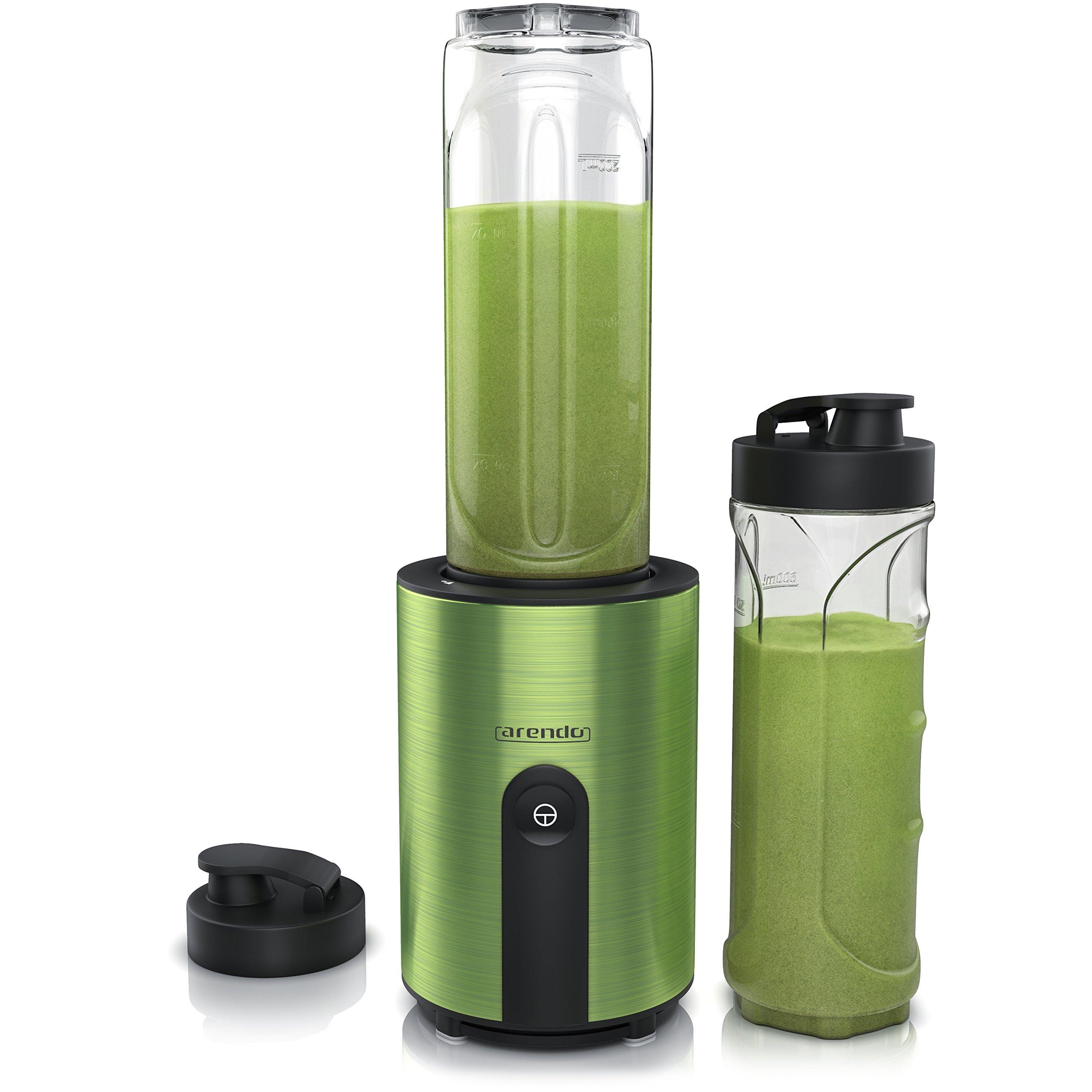 Arendo-mini-Standmixer-Mix-Go-Smoothiemaker-2x-ToGo-Becher-BPA-frei-Edelstahlmesser-4-flgelig-Smoothie-Mixer-Maker-automatische-Sicherheitsabschaltung-splmaschinengeeignet