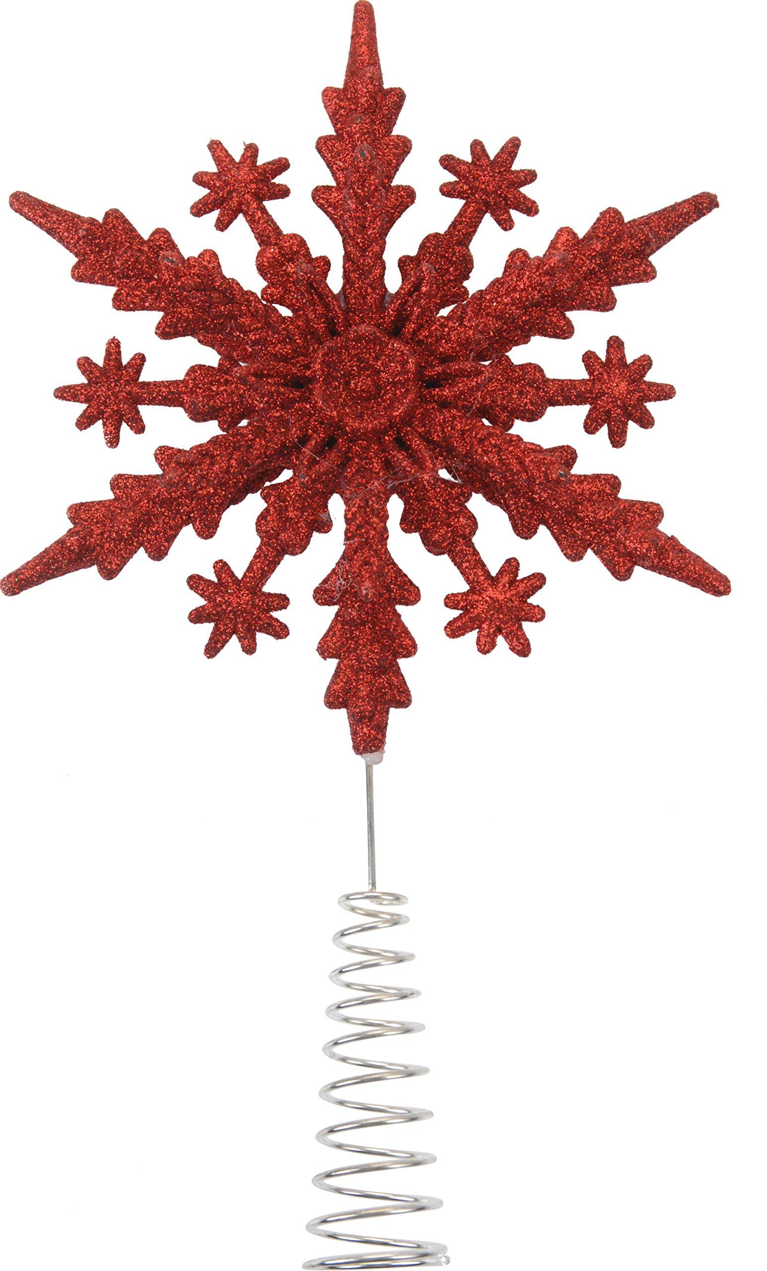 Baumschmuck-Christbaumspitze-Schneeflocke-Schneekristall-Glitzer-22-cm-rot-Kunststoff