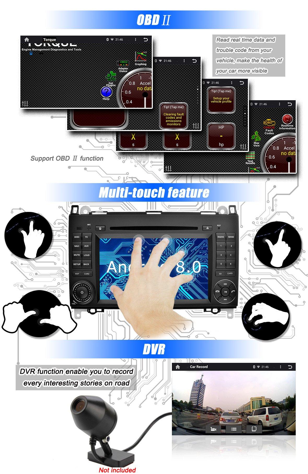 Ohok-7-Zoll-Bildschirm-2-Din-Autoradio-Android-80-Oreo-Radio-mit-Navi-Moniceiver-DVD-GPS-Navigation-Untersttzt-Bluetooth-DAB-fr-Mercedes-Benz-A-ClassB-ClassVito-mit-Rckfahrkamera