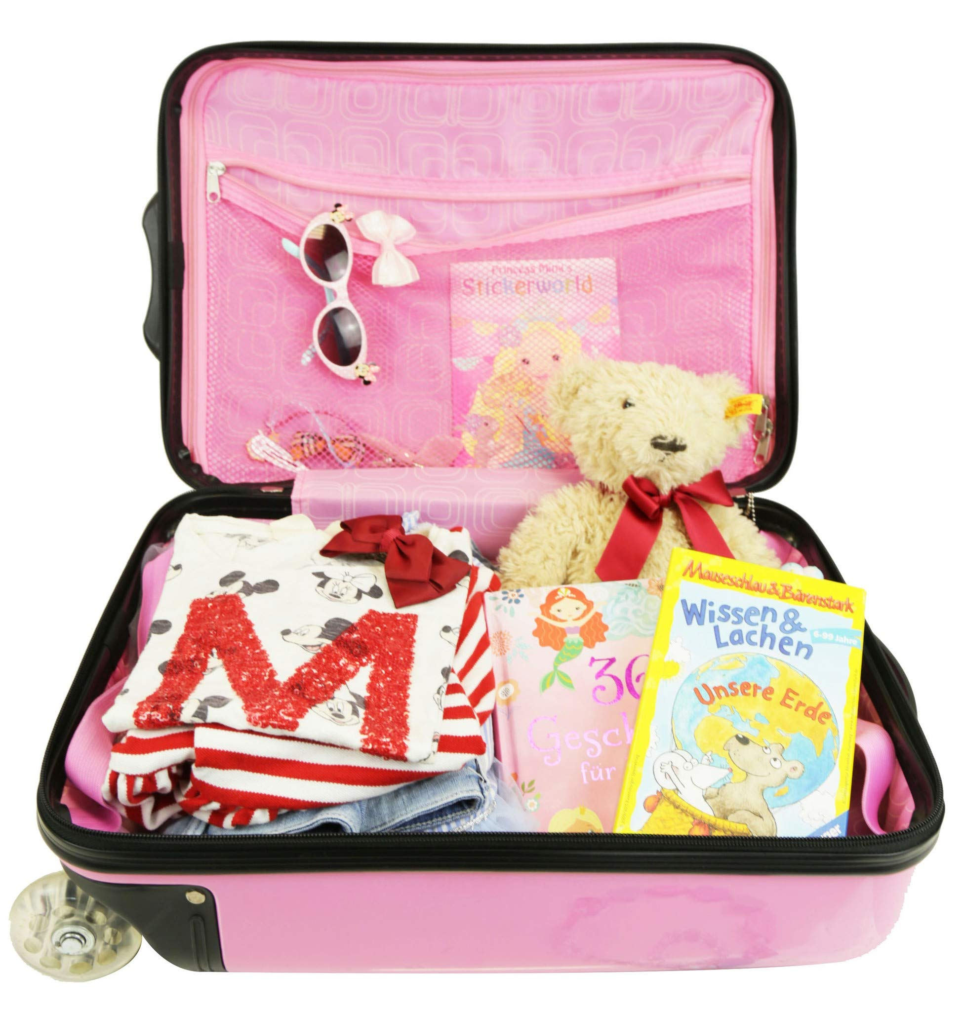 Kinder-Trolley-Handgepck-Hartschale-Reisekoffer-fr-Mdchen-Pink