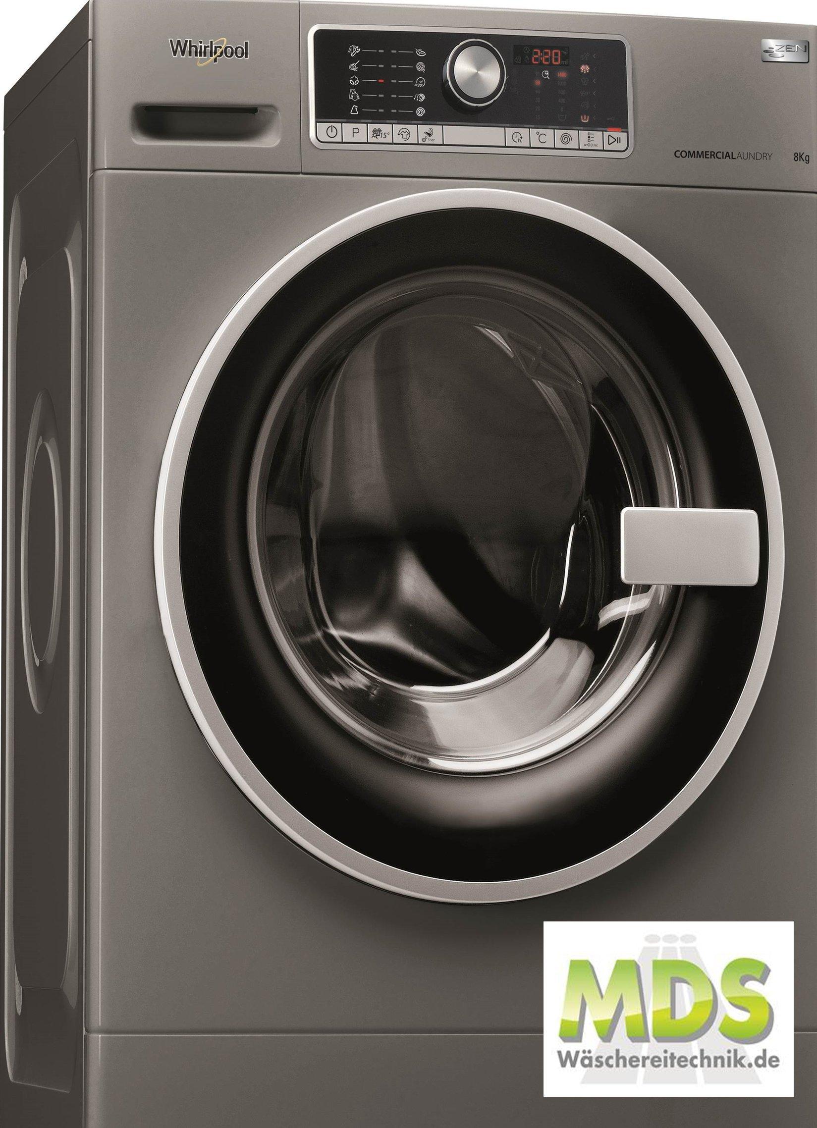 Whirlpool-AWG-812-S-Pro-Gewerbewaschmaschine-Fassungsvermgen-1200upm-Silber-Grau-8-KG