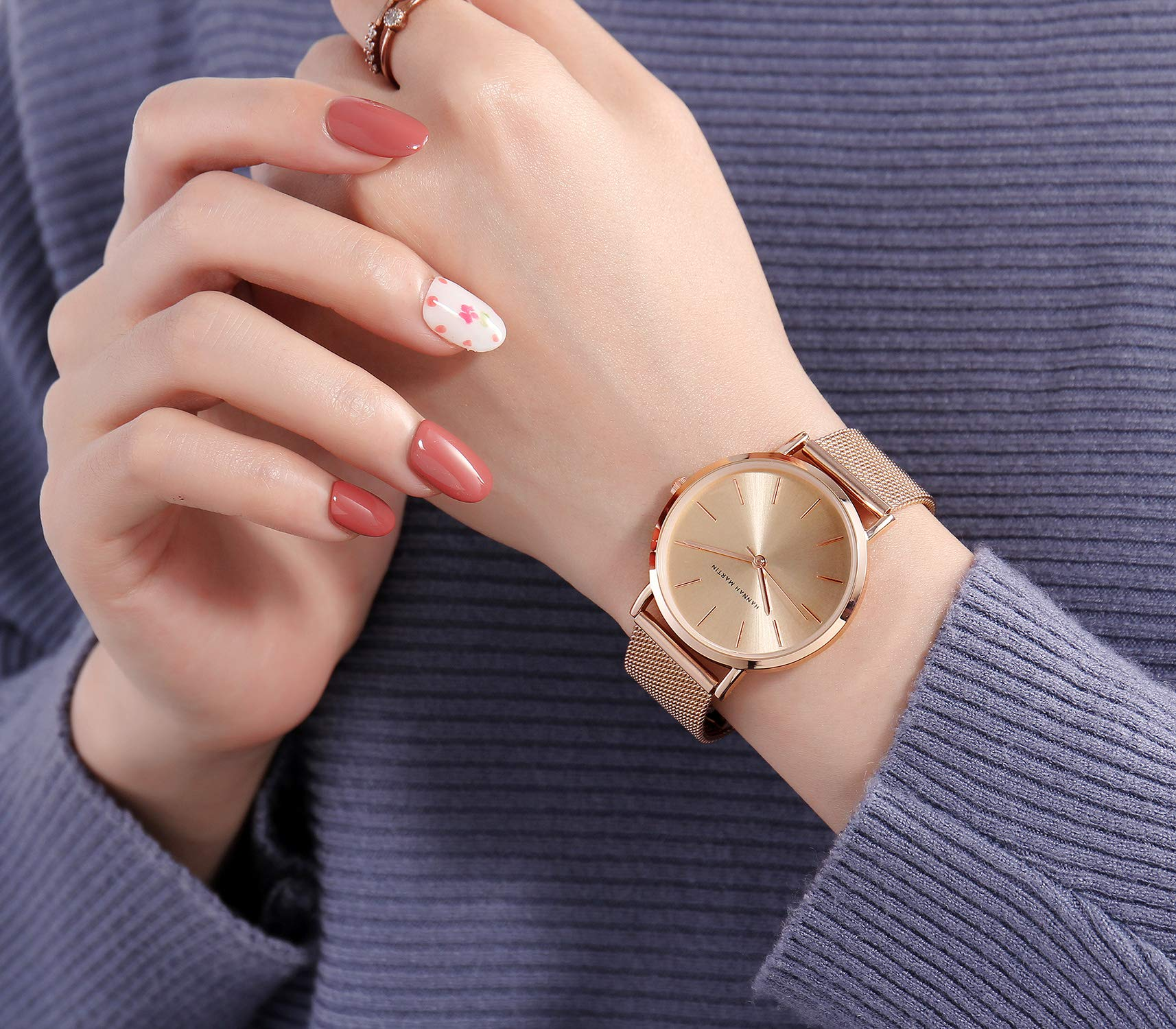 Kubagom-Damen-Uhren-Analog-Quarz-Edelstahl-Wasserdicht-Mesh-Ultradnne-Set-mit-Armreif