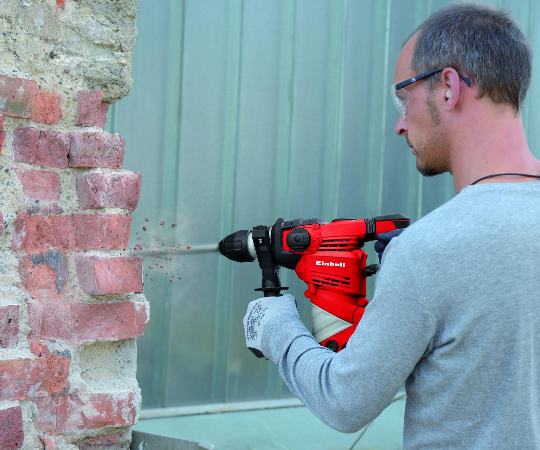 Einhell-Bohrhammer-TC-RH-900-900-W-3-J-Bohrleistung-in-Beton-26-mm-SDS-Plus-Aufnahme-Metall-Tiefenanschlag-Koffer