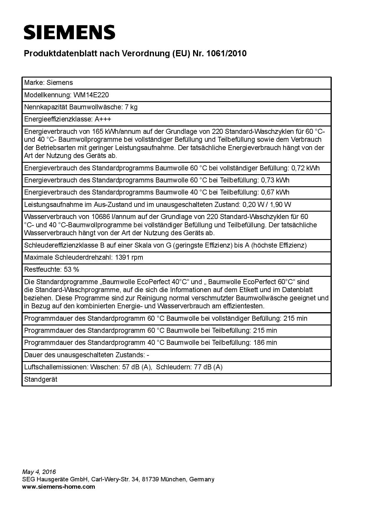 Siemens-iQ300-WM14E220-Waschmaschine-700-kg-A-165-kWh-1400-Umin-Schnellwaschprogramm-Nachlegefunktion-15-Minuten-Waschprogramm