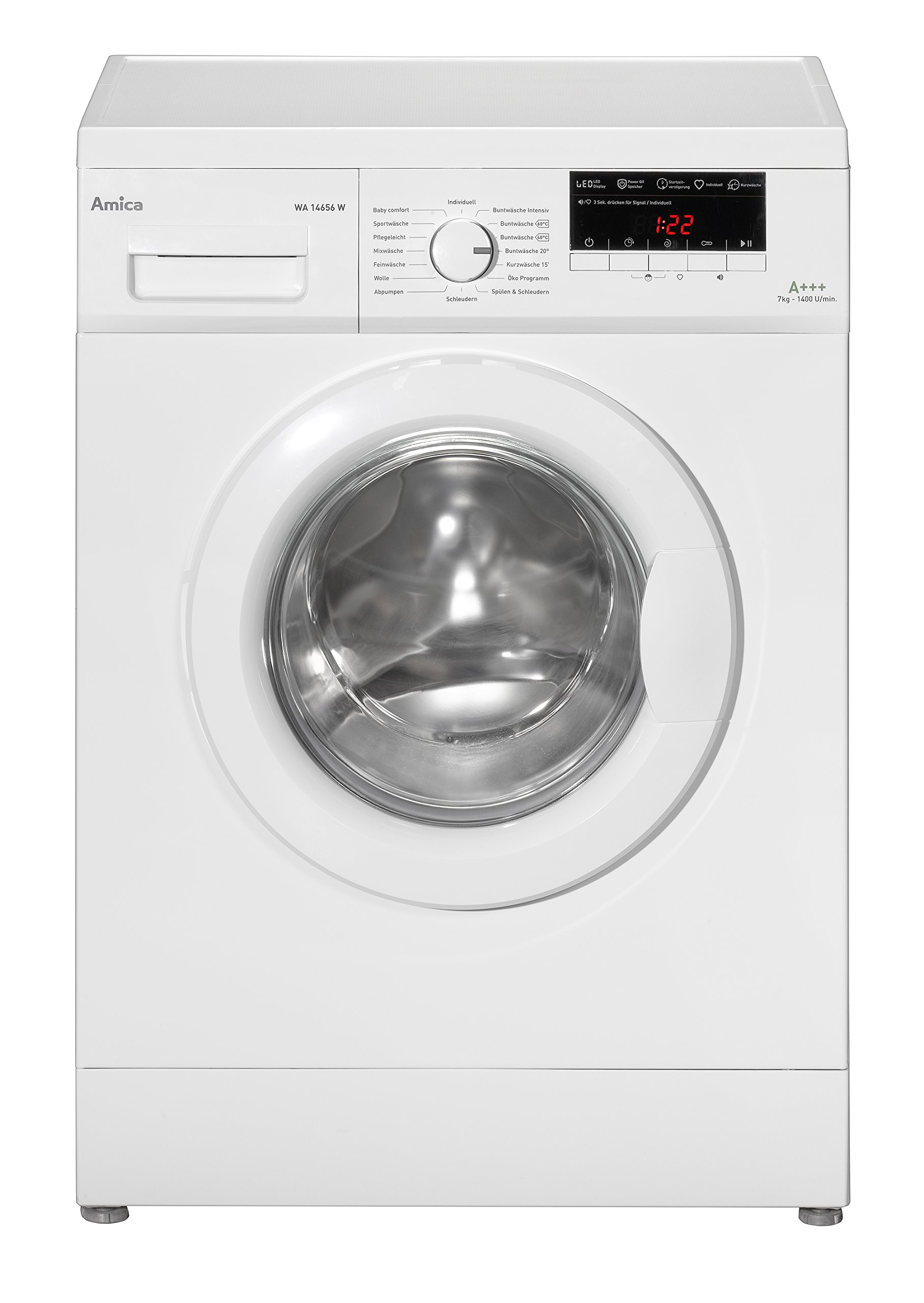 Amica-WA-14656-W-Waschmaschine-FL-A-175-kWh-Jahr-1400-UpM-7-kg-9240-L-Jahr-Elektronisch-mit-16-Haupt-Programmen-bersichtliches-LED-Display-3-Zusatzfunktionen-Temperaturwahl-Drehzahlregulierung-Startze