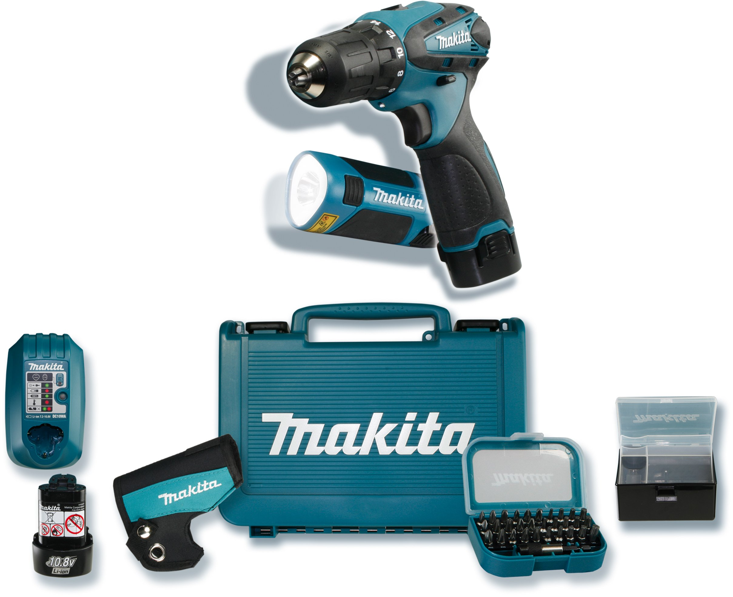 Makita-DF330DWLX-Akku-Bohrschrauber-108-V-Akku-Lampe-2-Akkus-und-Ladegert