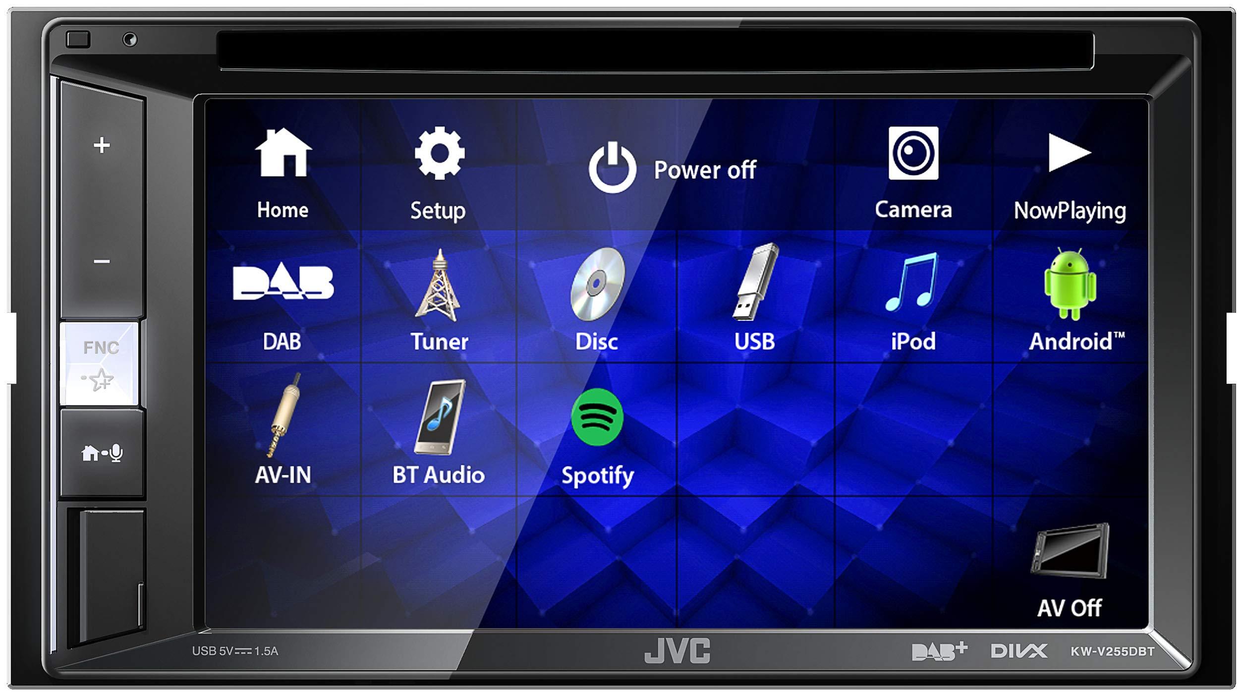 JVC-KW-V255DBT-DAB-Multimedia-Autoradio-mit-157-cm-Touchscreen-2-DIN-DVD-Bluetooth-Freisprecheinrichtung-Soundprozessor-USB-Android-Spotify-Control-Schwarz