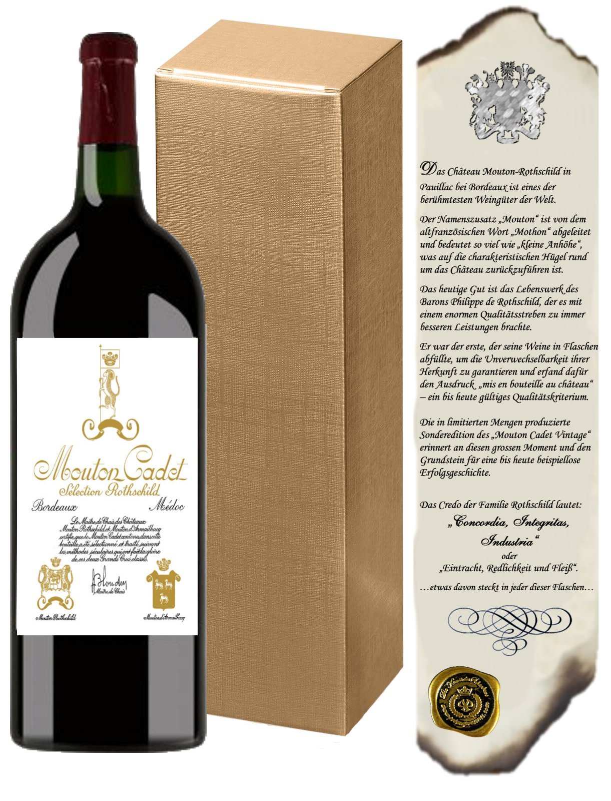 Magnum-Weingeschenkset-Baron-Philippe-de-RotschildEdition-Vintage-Mouton-Bordeaux-Retro-inkl-Urkunde-zur-Familienhistorie-Rotwein-Magnum-15L-Wein-Geschenk-Frankreich-Magnum-XL-XXL