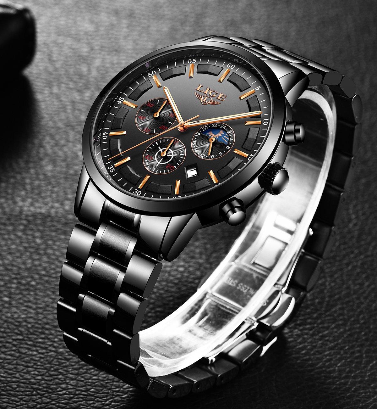LIGE-Uhr-Herren-Beilufig-Sports-Edelstahl-Wasserdicht-Quartz-Uhr-mit-Chronograph-Kalender-Datum-Schwarz-Armbanduhren