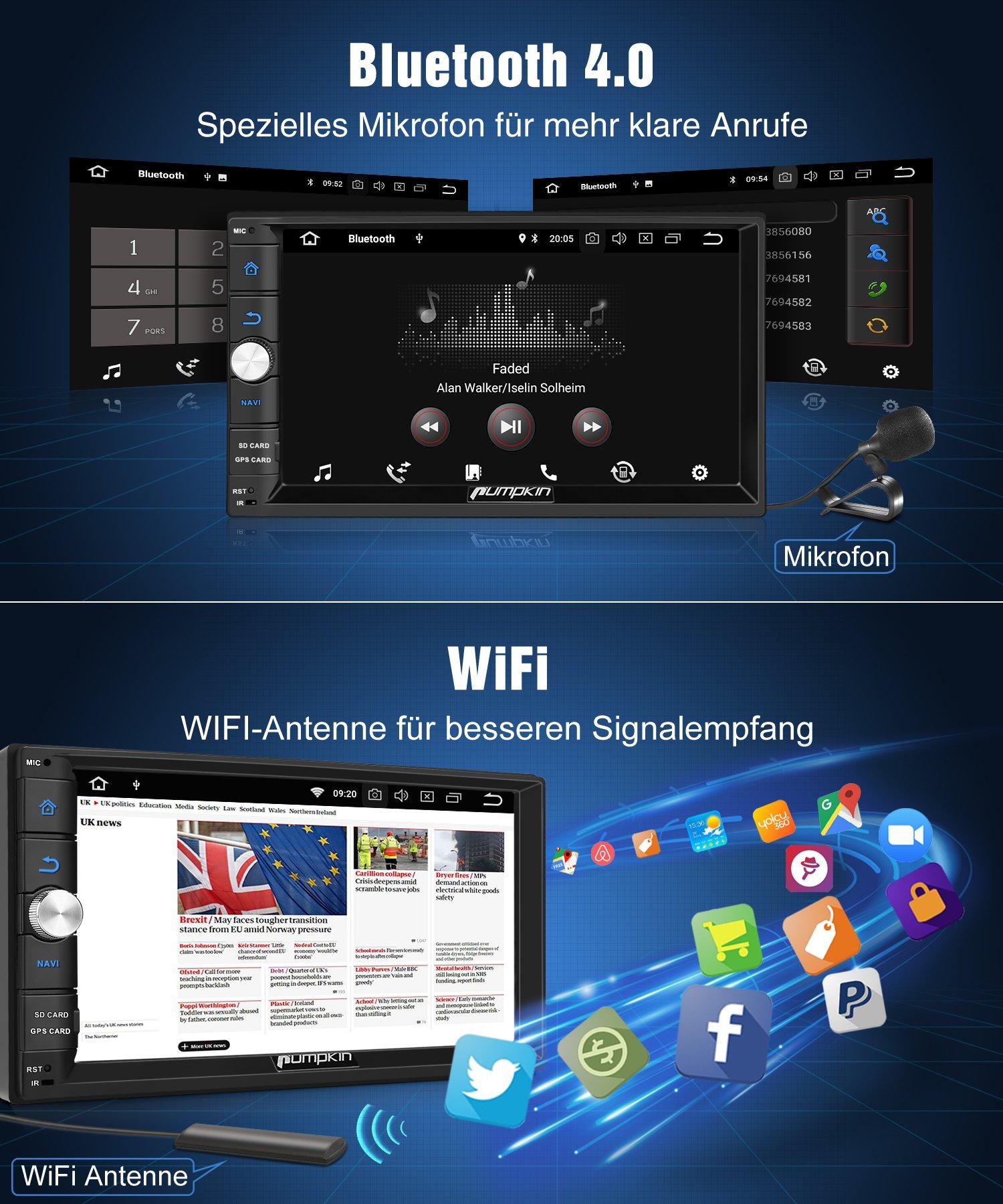 PUMPKIN-Android-80-Autoradio-Moniceiver-mit-GPS-Navi-Untersttzt-Bluetooth-DAB-USB-Android-Auto-MicroSD-2-Din-7-Zoll-Bildschirm