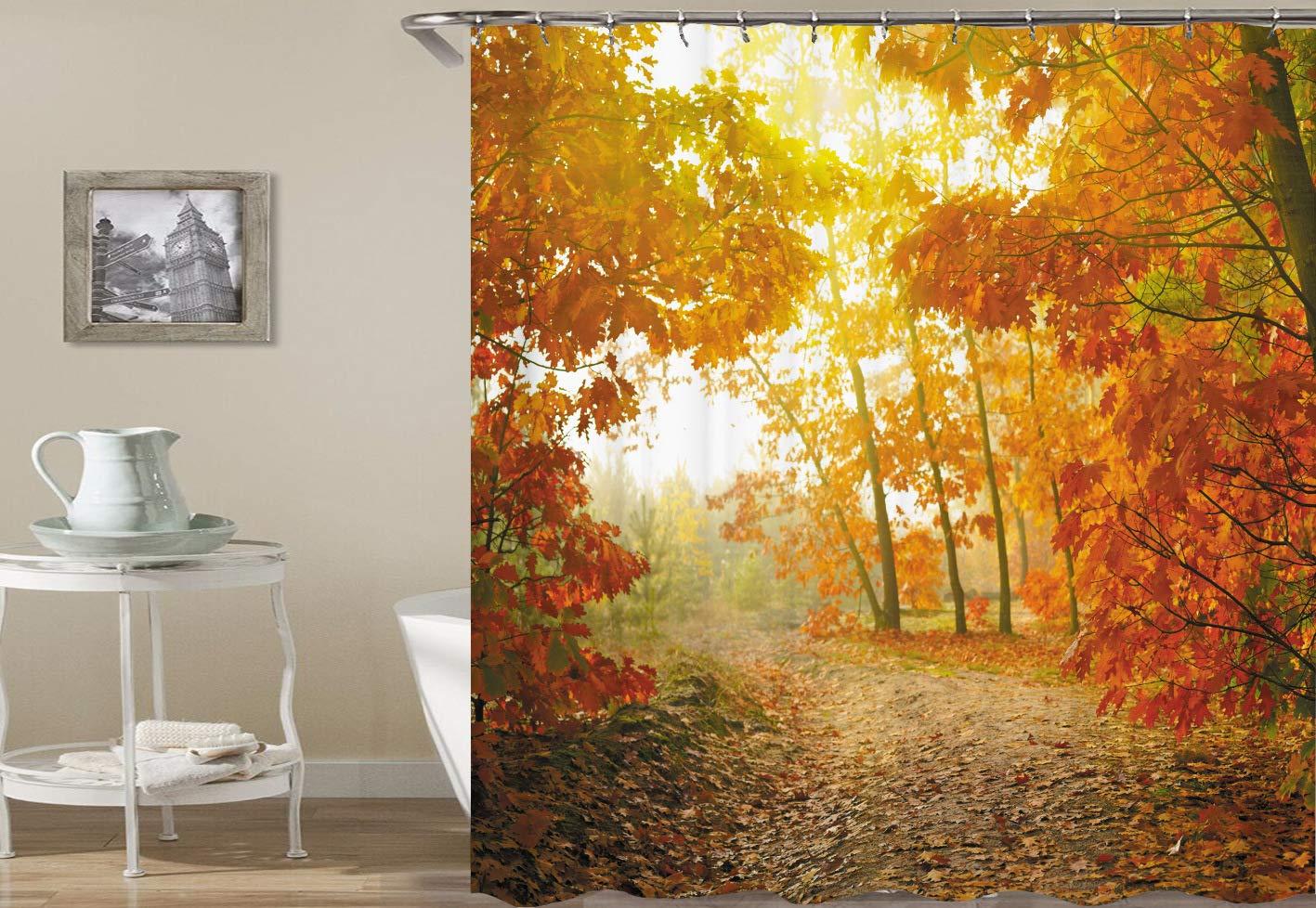 ajhgfjgdhkmdg-Schner-gelber-Goldener-Herbstlaub-des-weien-Himmels-und-grner-groer-Baum-Qualittsduschvorhang-mit-waschbarer-Gewebebadezimmerdekoration-des-Wasserdichten-Gewebes-des-Hakens