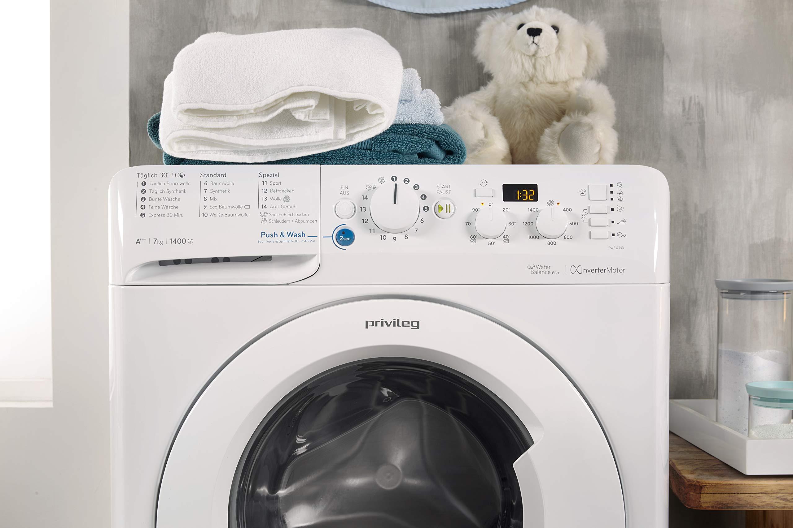 Privileg-PWF-X-743-Waschmaschine-FrontladerA-1400-UpM-7-kgMengenautomatikStartzeitvorwahlMaschinenreinigungInverter-MotorWasserschutzAntiflecken-OptionBgelleicht-OptionDaunen