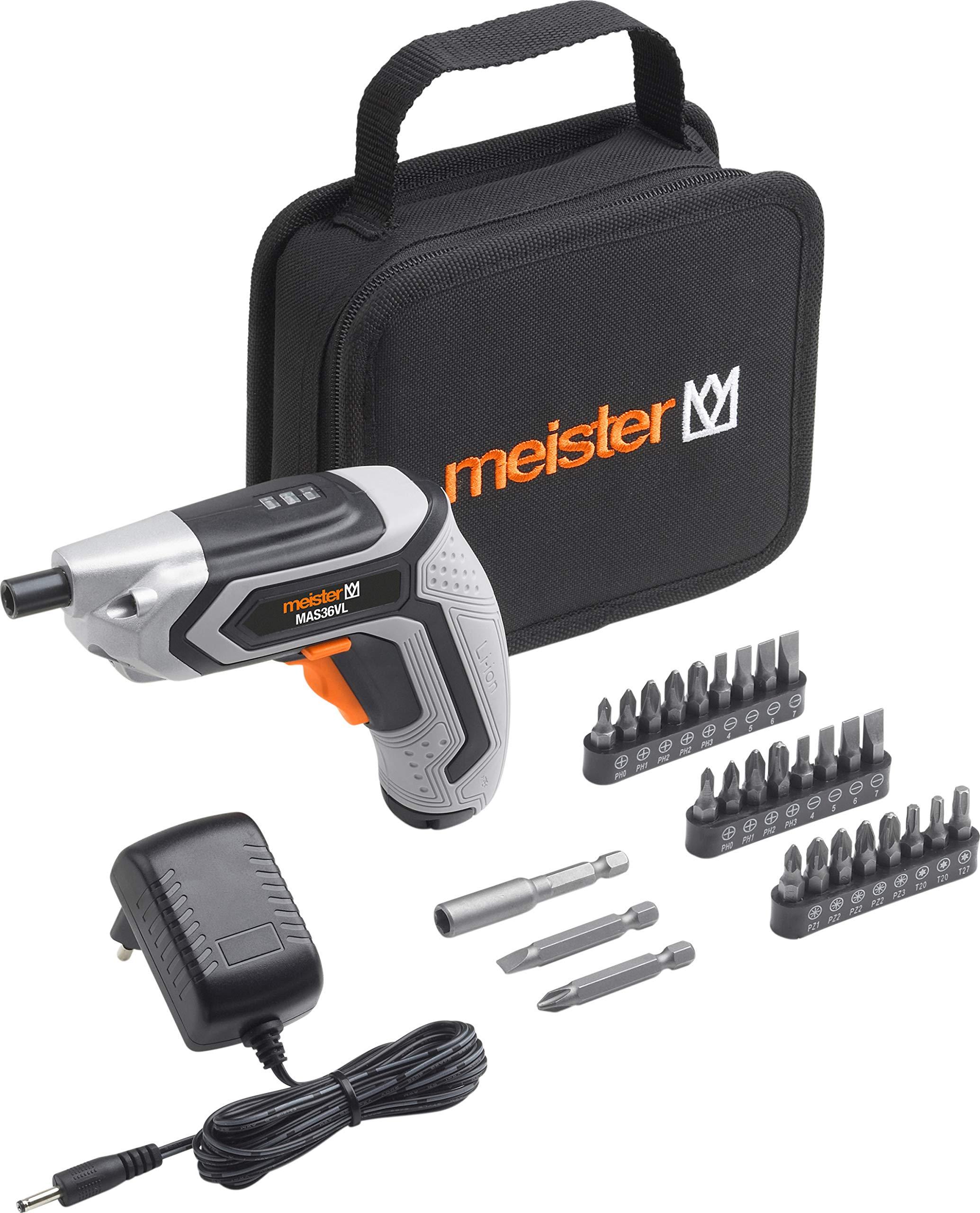 Meister-Akkuschrauber-36-V-MAS36VL-15-Ah-Mit-Textiltasche-LED-Arbeitsleuchte-Ideal-zum-randnahen-Schrauben-Akkuschrauber-mit-Bit-Satz-Mini-Akkuschrauber
