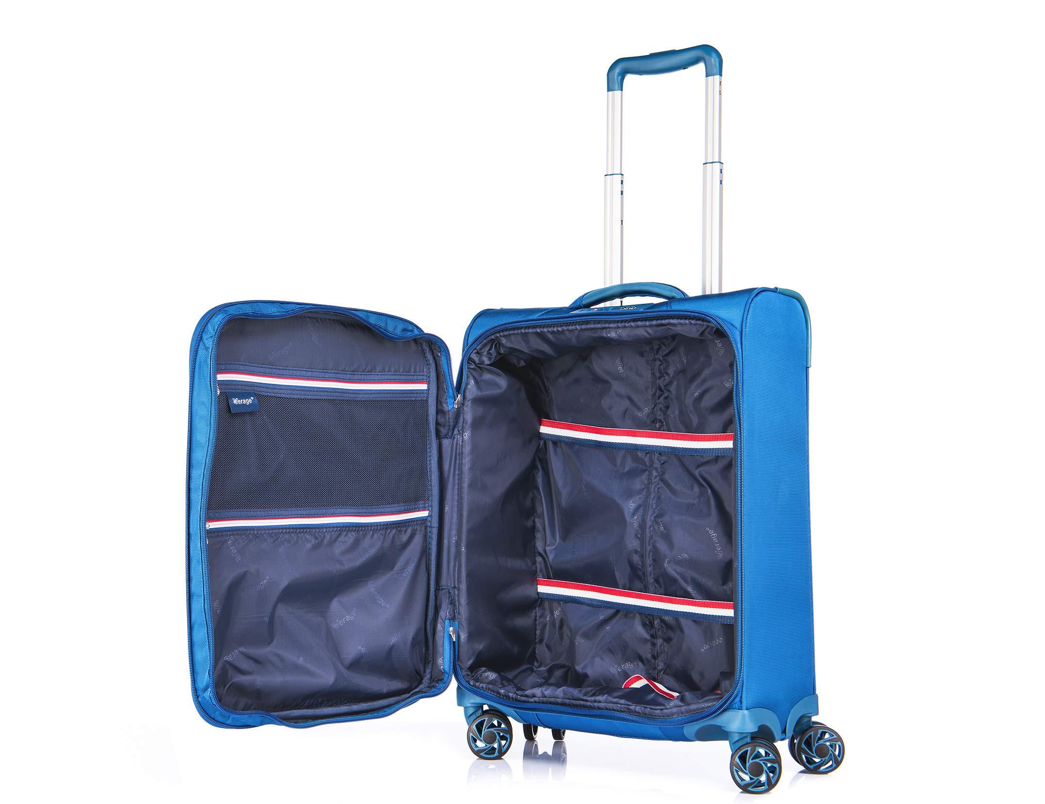 Verage-Visionary-4-Rollen-Stoff-Reisekoffer-Handgepck-Business-Trolley-Set-S-M-L-Rot-Schwarz-Lila-Blau-Petrol-wasserdicht-TSA-integriert-erweiterbar