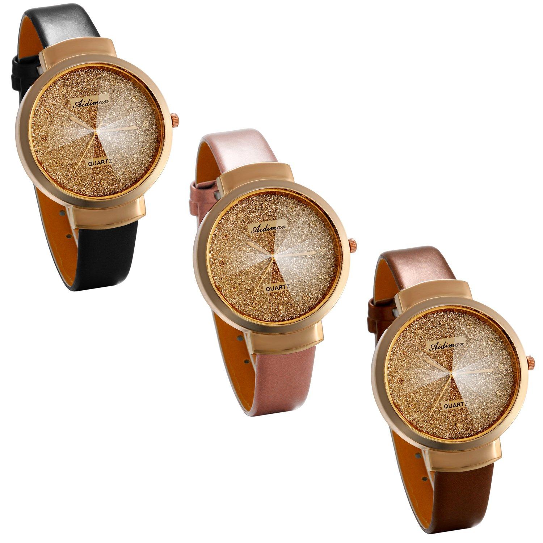 JewelryWe-Damen-Frauen-Armbanduhr-Einfach-Klassische-Analog-Quarz-Uhr-Leder-Band-Quarzuhren-mit-Gold-modisch-Sternenhimmel-Design-Zifferblatt-Braun-Schwarz-Pink