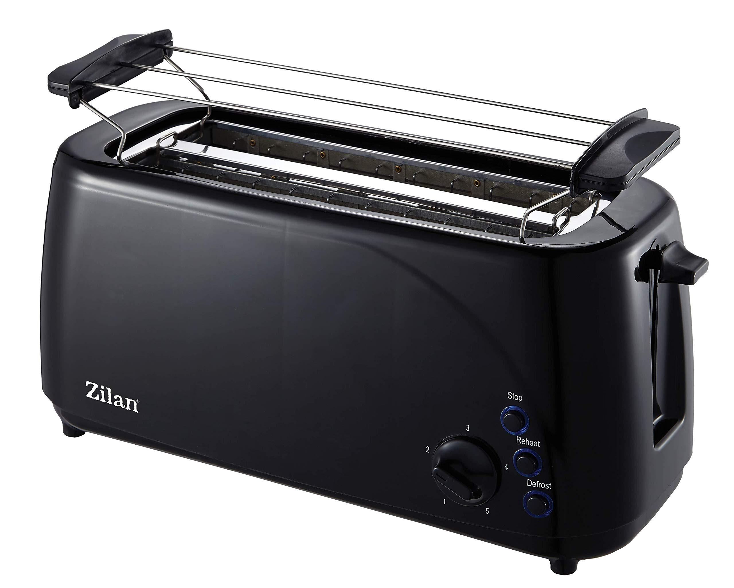 Toaster-Langschlitz-4-Scheiben-Toastautomat-XXL-Toaster-1400-Watt-5-Stufen-Bruneregler-Brtchenaufsatz-Auftau-Funktion-Krmmelschublade-Schwarz