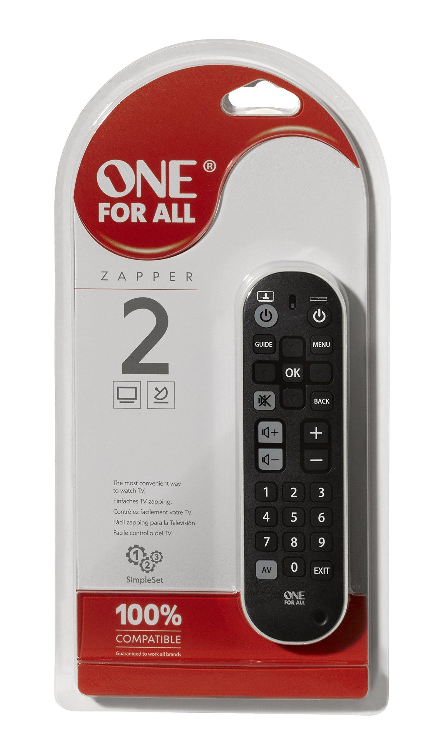 Zapper-Universalfernbedienung-von-One-For-All-Steuerung-von-bis-zu-3-Endgerten-wie-TV-Set-Top-Box-und-Audio-Klar-und-kompakt-strukturiert-Funktioniert-garantiert-mit-allen-TV-Marken-URC-6820