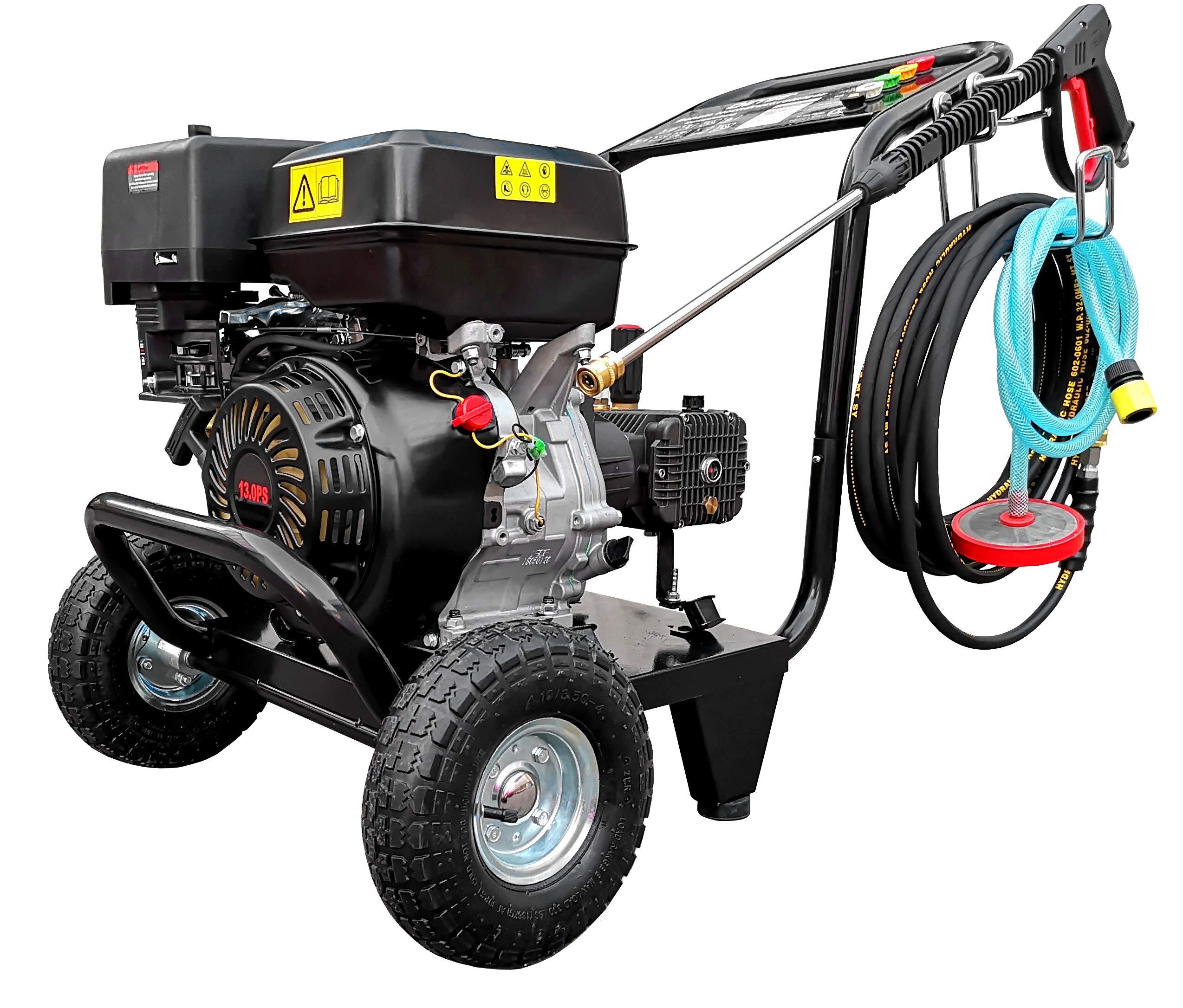 DeTec-Benzin-Hochdruckreiniger-13-PS-Terrassenreiniger-Flchenreiniger-250-bar-Arbeitsdruck-15-L-Min-Frderleistung-5-Dsen-fr-unterschiedliche-Anwendungen-10-Meter-Hochdruckschlauch-389-ccm-4-Takt-Motor