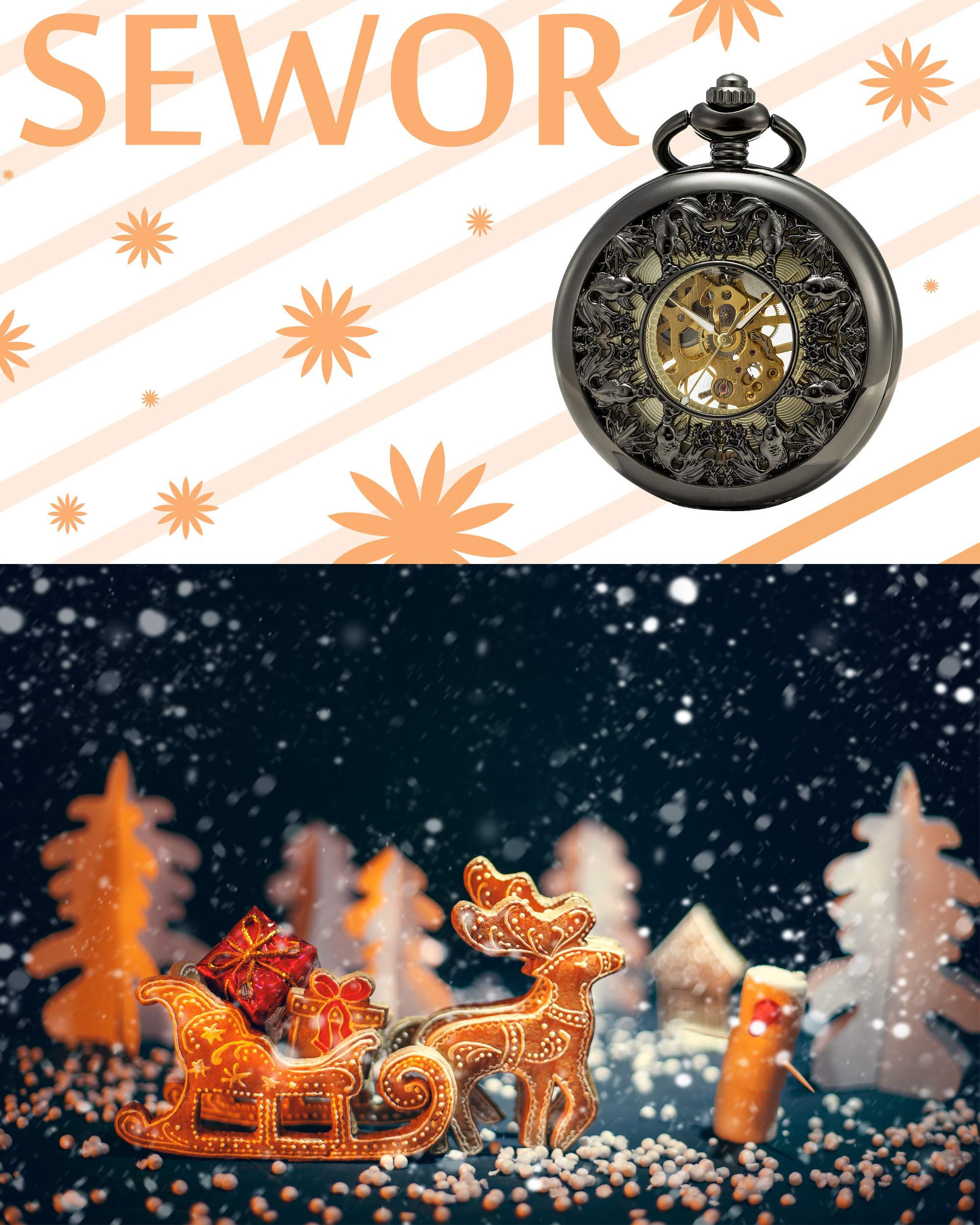 SEWOR-Japan-Koi-Siehe-durch-mechanische-Handaufzugwerk-Taschenuhr-Lucky-Geschenk-