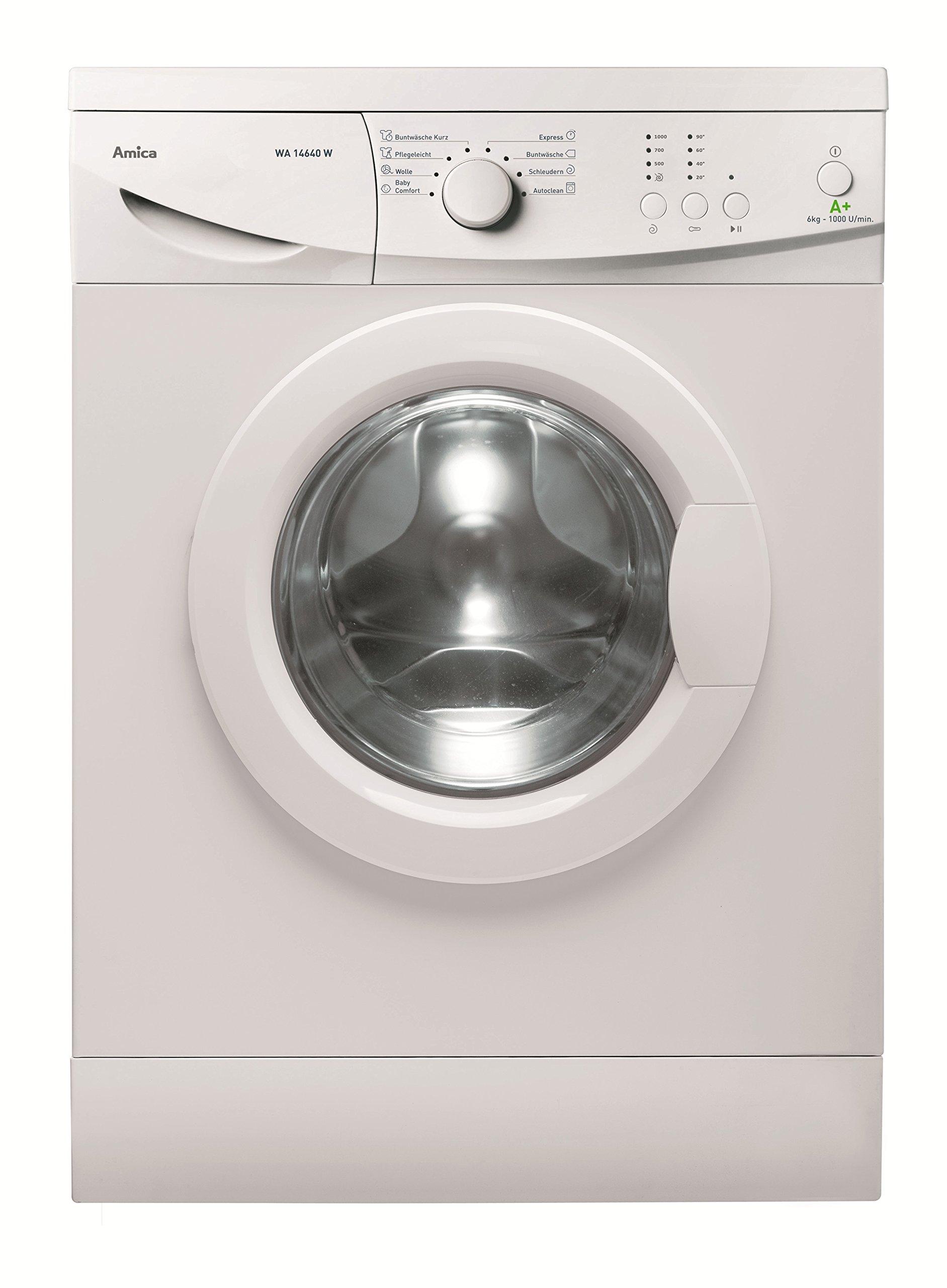 Amica-WA-14640-W-Waschmaschine-FLA-196-kWhJahr-1000-UpM-6-kg-9240-LJahrElektronisch-mit-8-Haupt-Programmen-2-Zusatzfunktionen-Temperaturwahl-Schleuderwahlwei