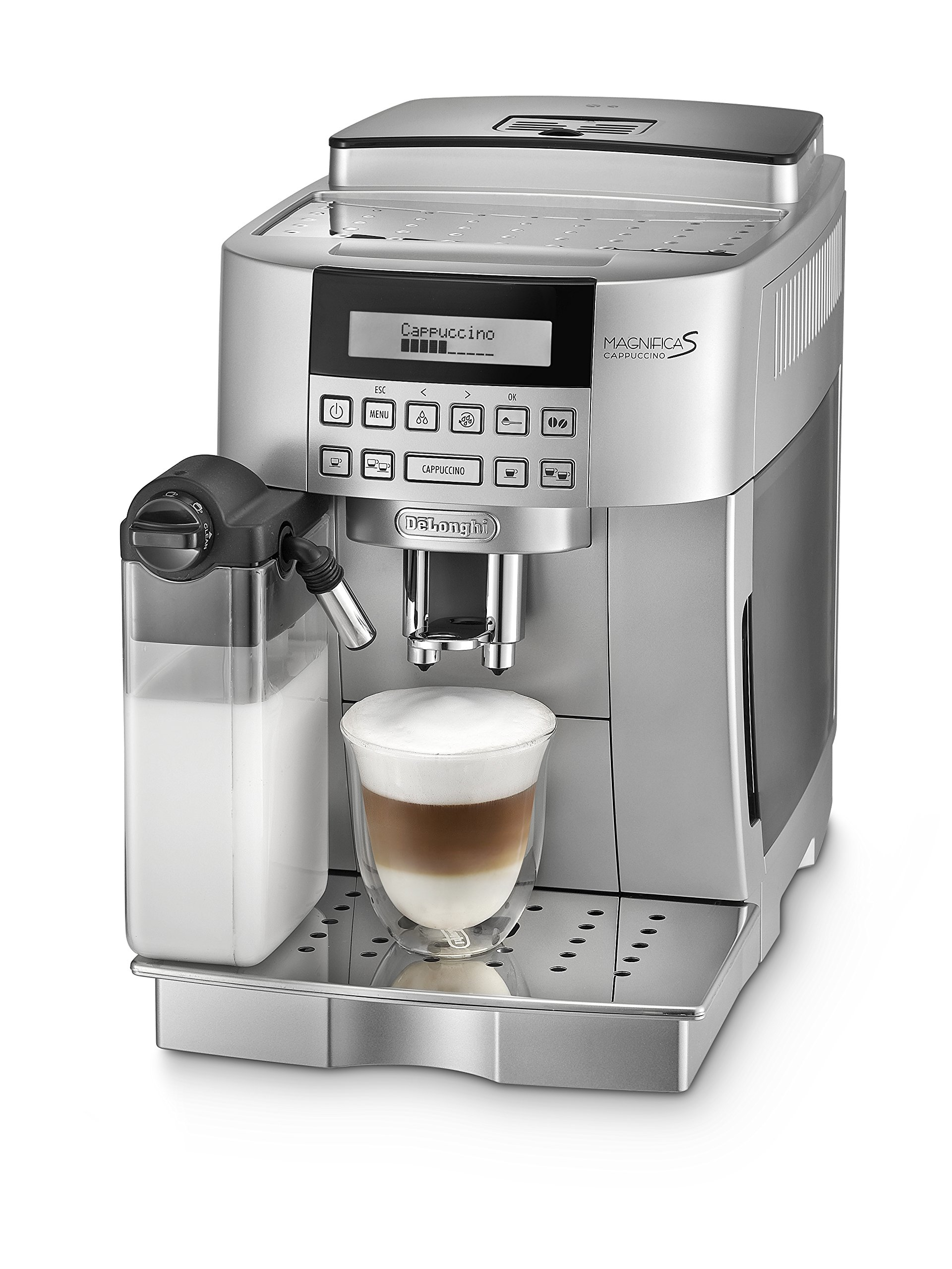 DeLonghi-Magnifica-S-Cappuccino-ECAM-22366S-Kaffeevollautomat-Digitaldisplay-integriertes-Milchsystem-Cappuccino-auf-Knopfdruck-Herausnehmbare-Brhgruppe-2-Tassen-Funktion-silber