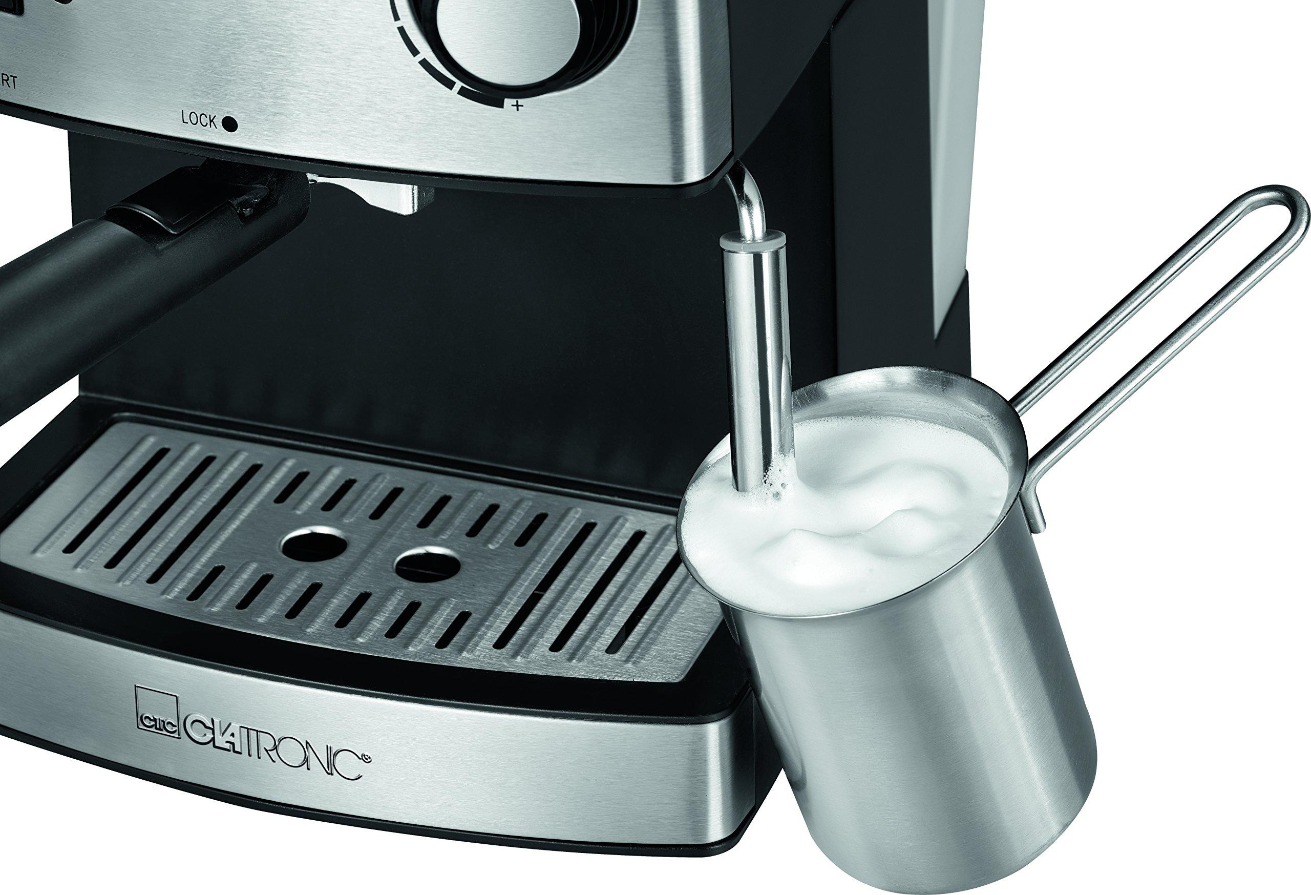 Clatronic-ES-3643-Espresso-und-Cappuccino-Automat-Edelstahlfront-15-bar-Pumpdruck-16-Liter-Wasserstand-Tassenvorwrmfunktion-Schwenkbare-Edelstahldampfdse-mit-Aufschum-und-Heiwasserfunktion
