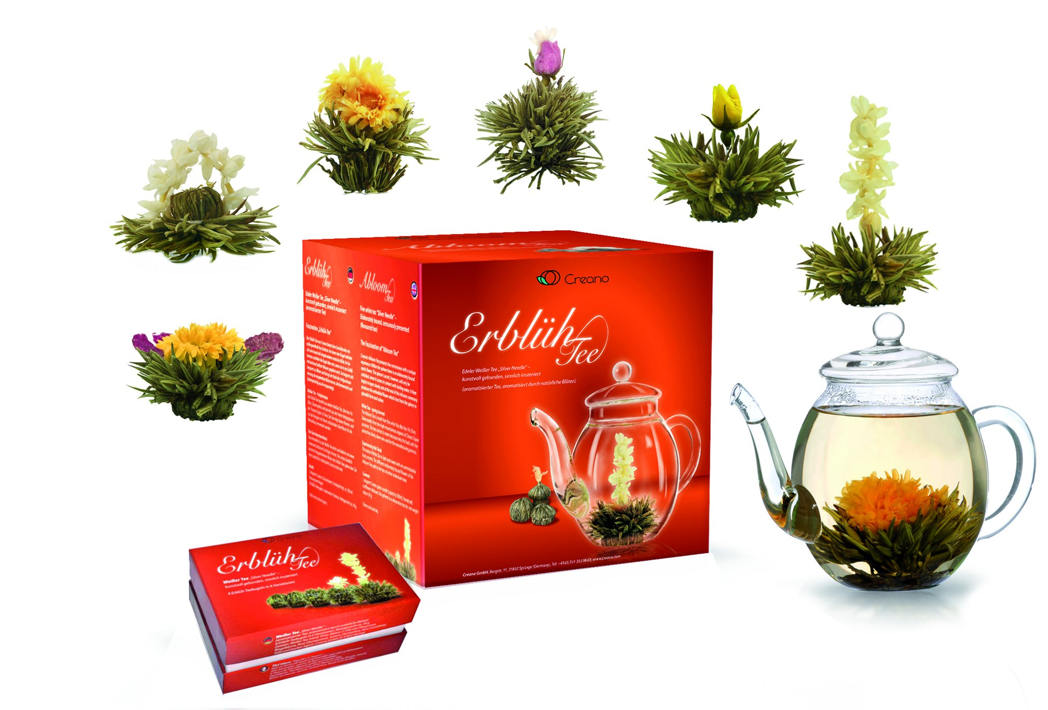Creano-Teeblumen-Mix-GeschenksetErblhTee-mit-Glaskanne-12-Teeblumen-in-Teekiste-aus-Holz-in-6-Sorten-Weitee