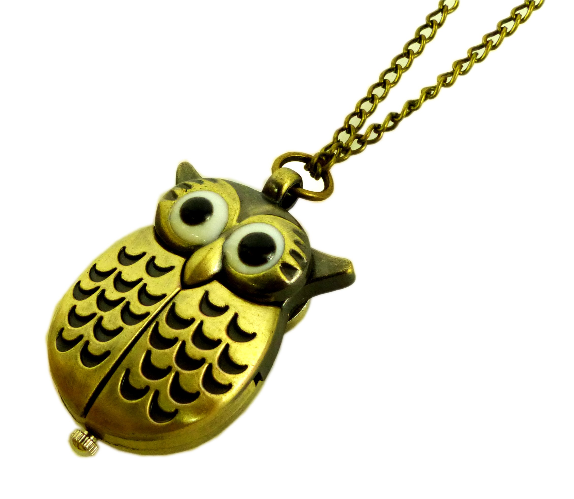 Halskette-Ketten-Uhr-Umhngeuhr-Taschenuhr-Eule-Filou-Bronze-3024