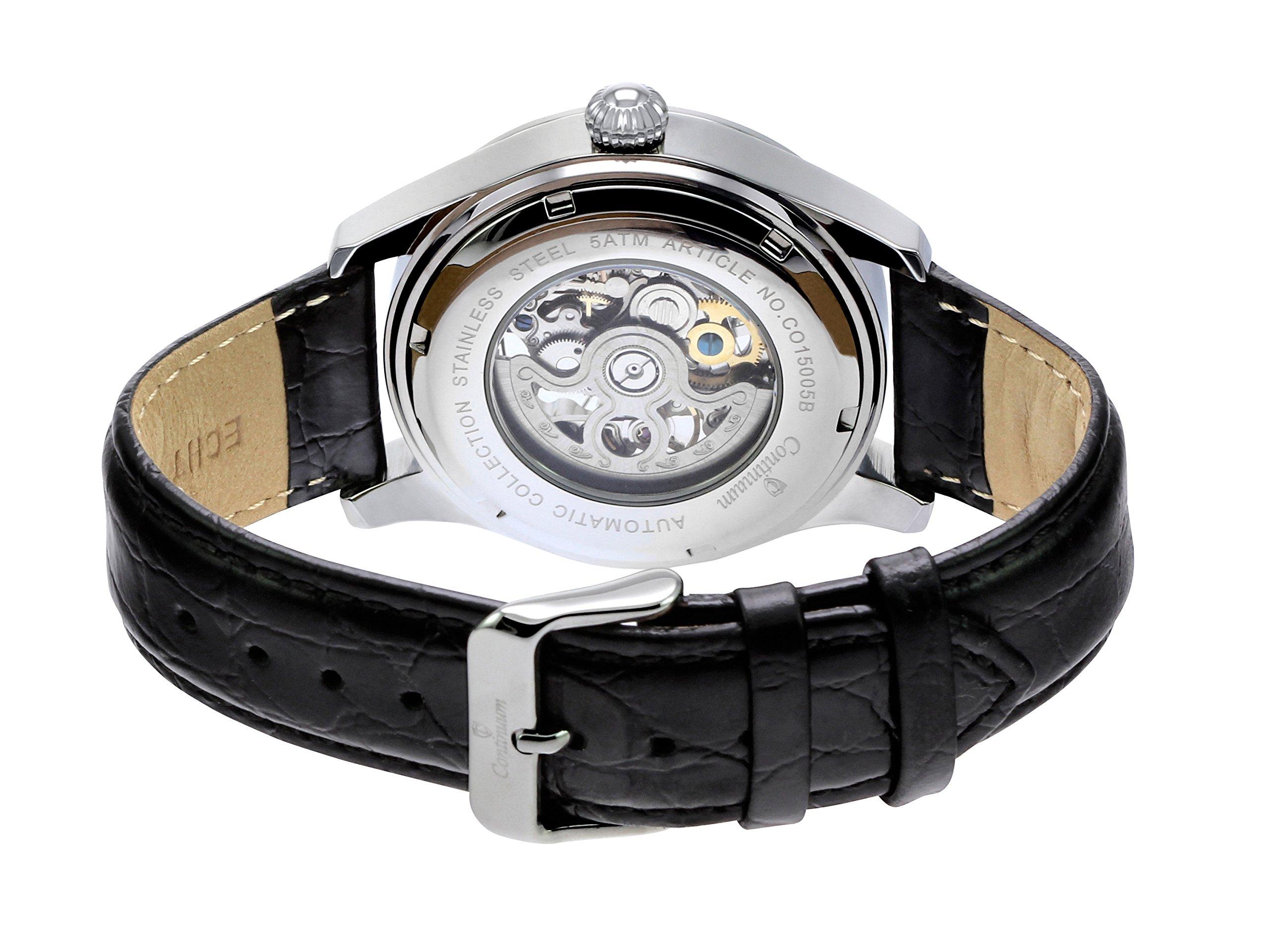 Continuum-Uhr-Automatikuhr-Armbanduhr-fr-Herren-Mnner-Analog-Skelettuhr-Herrenuhr-Mnneruhr-Leder-Armband-Schwarz-Wasserdicht-Klassisch-Elegant-Zifferblatt-CO15005B