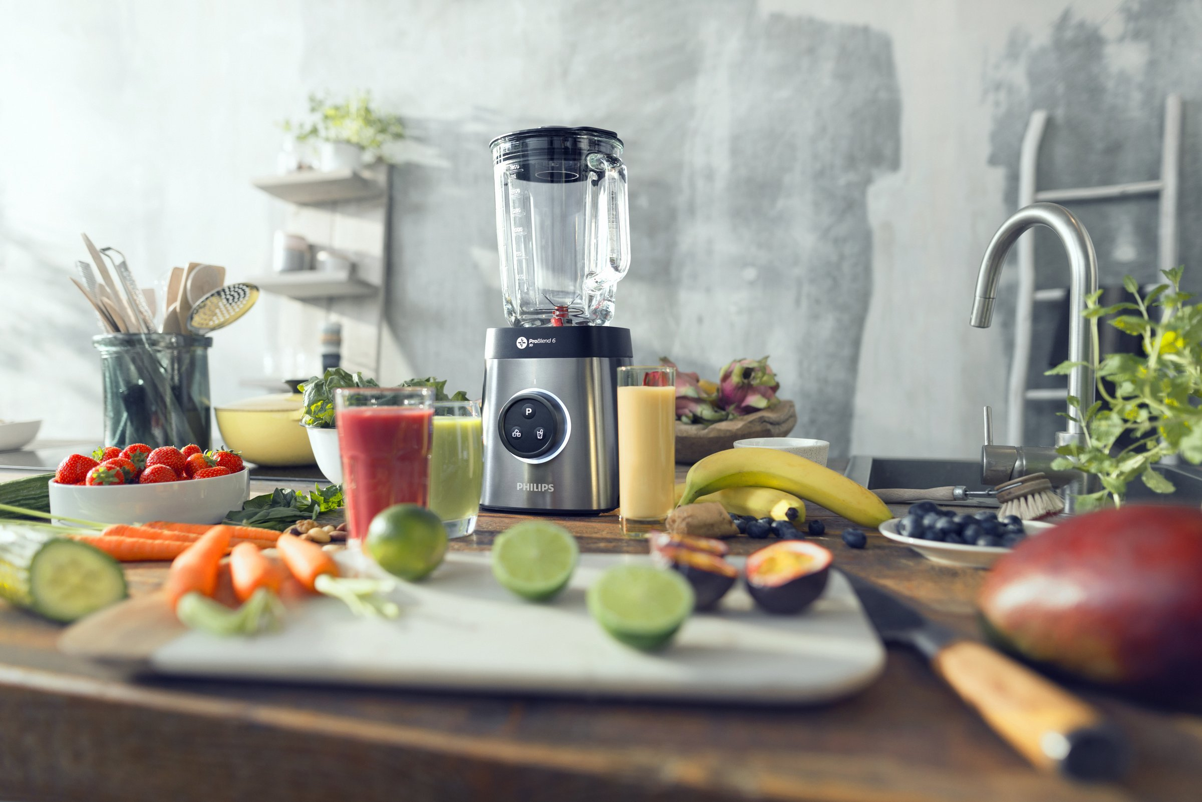 Philips-HR365500-Standmixer-1400-Watt-ProBlend-6-3D-Technologie-2-Liter-Glasbehlter-2x-Trinkbecher-Splmaschinenfest-edelstahl