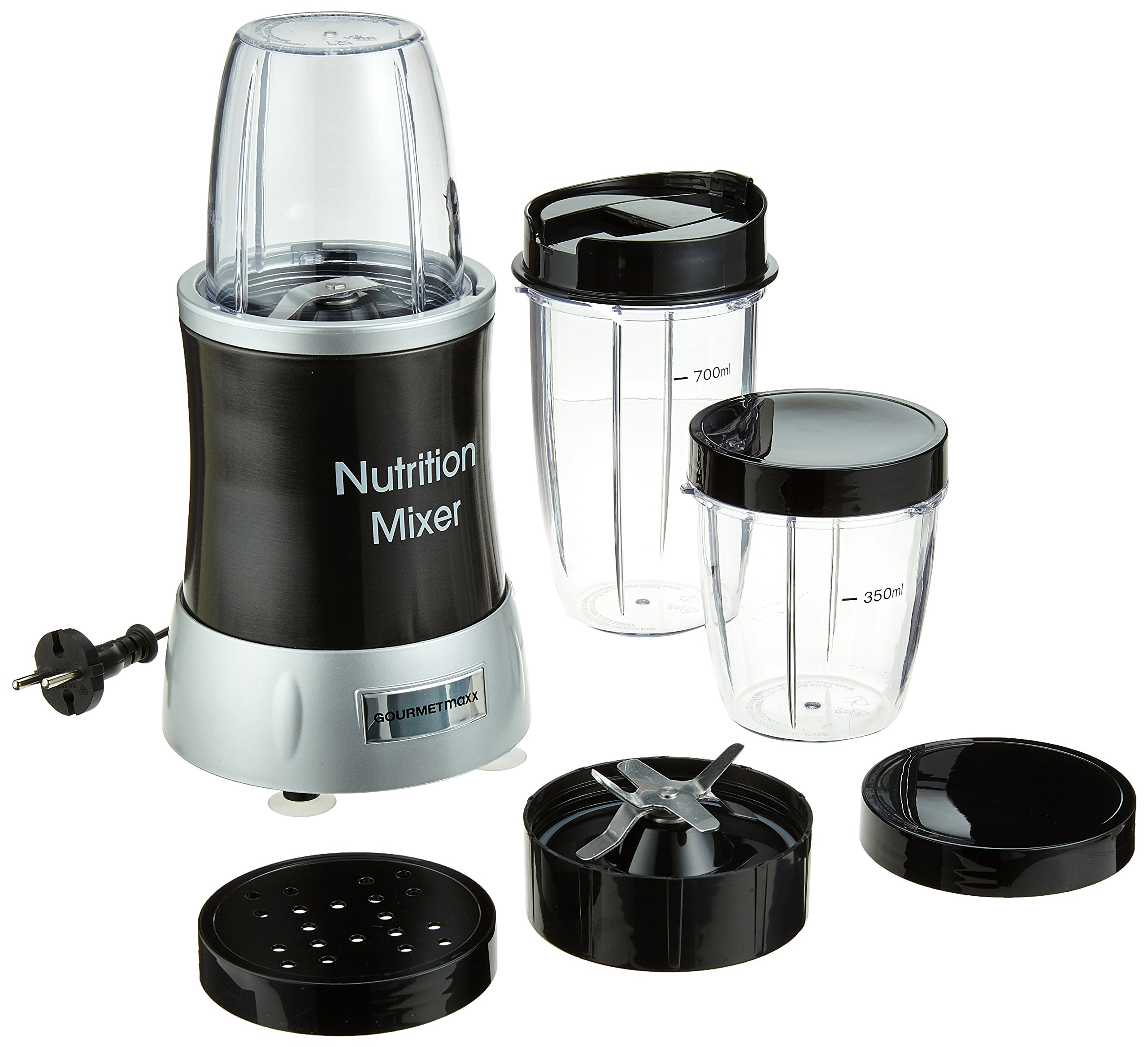 GOURMETmaxx-04201-Nutrition-Mixer-Deluxe-11-teilig-1000W-Extra-Power-22000-RPM-To-go-Deckel-7-Funktionen