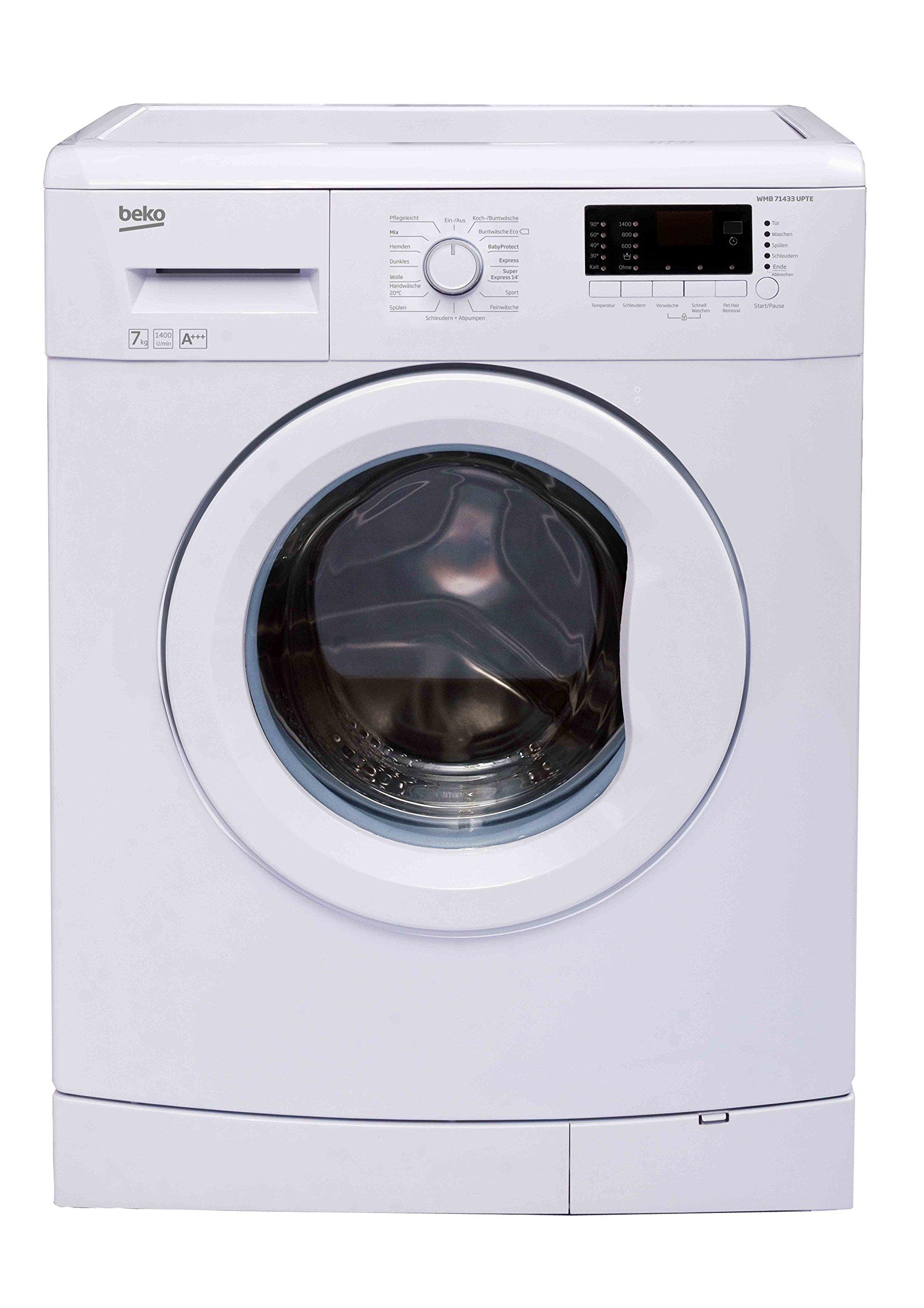 Beko-WMB-71433-UPTE-Waschmaschine-Frontlader-7kg-A-1400-UpM-Aquafusion-Mengenautomatik-15-Programme-BabyProtect-Waschen-Watersafe