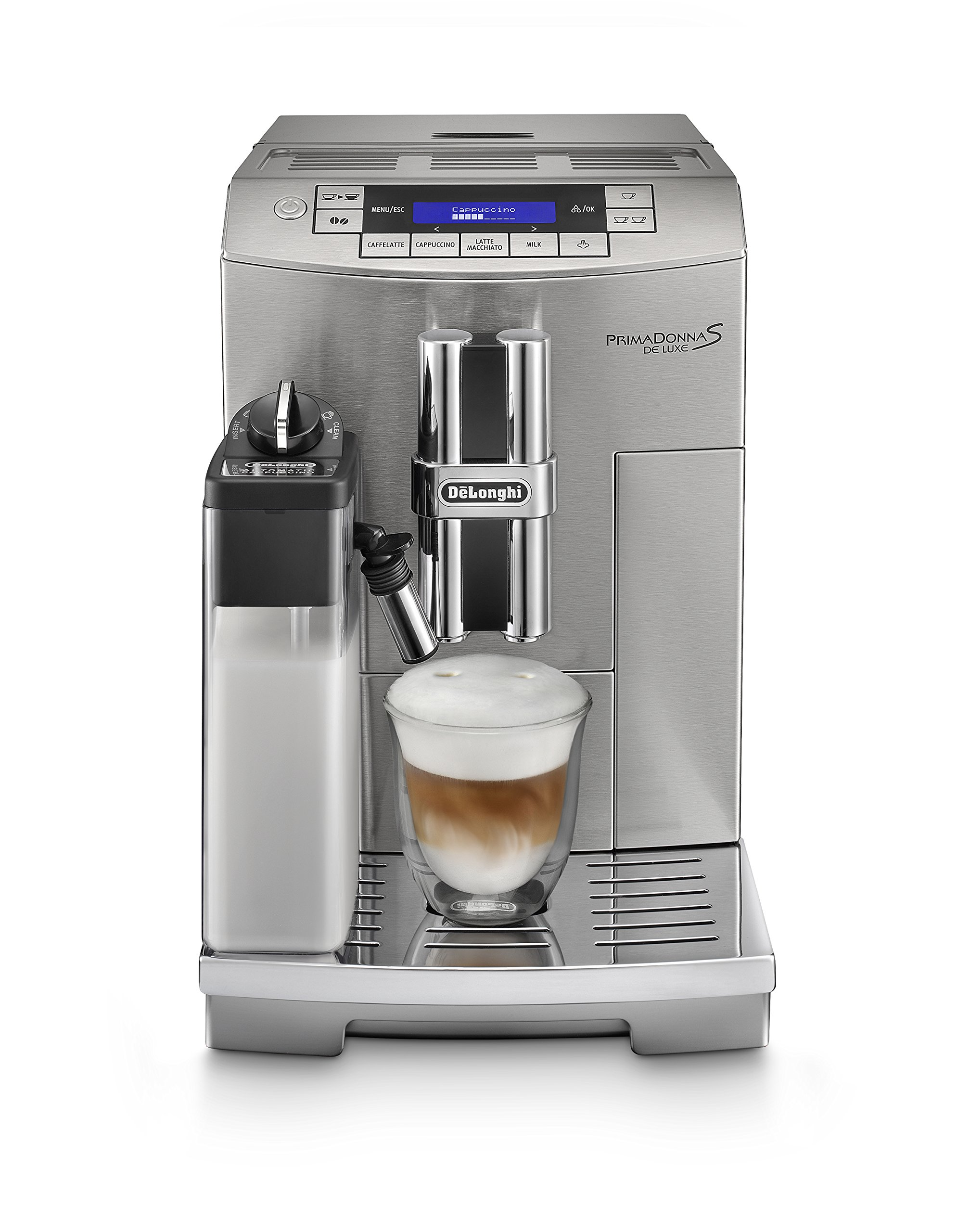 DeLonghi-PrimaDonna-S-De-Luxe-ECAM-28466M-Kaffeevollautomat-Digitaldisplay-integriertes-Milchsystem-Lieblingsgetrnke-auf-Knopfdruck-Edelstahlgehuse-2-Tassen-Funktion-silber