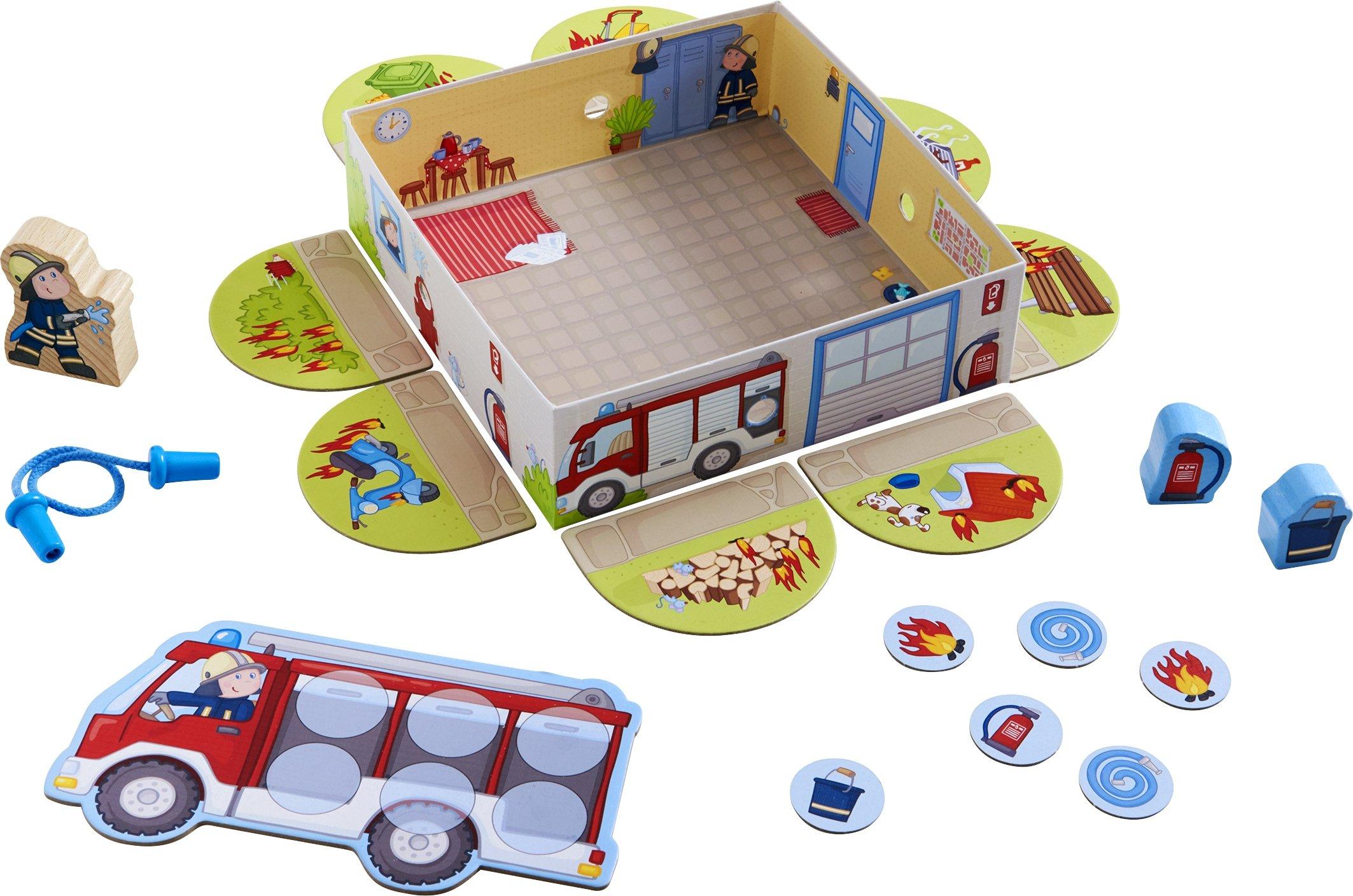HABA-303807-Meine-ersten-Spiele–Feuerwehr-Spannendes-Memospiel-fr-1-4-Spieler-ab-2-Jahren-Spieleschachtel-wird-zur-bespielbaren-Feuerwache