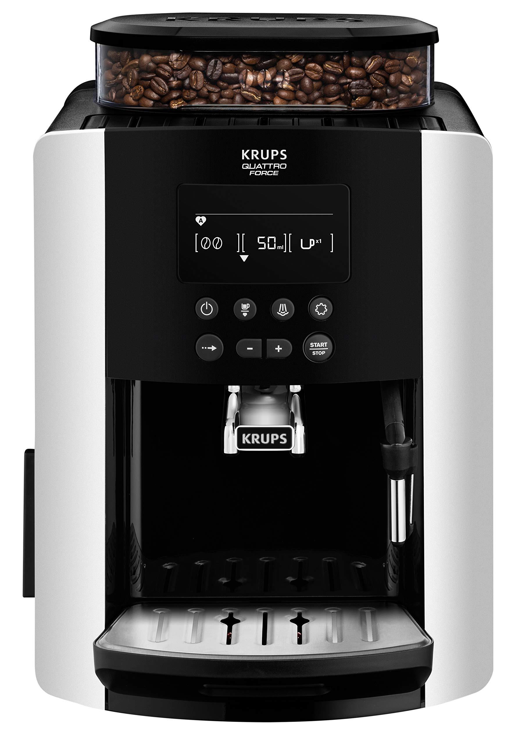 Krups-EA8178-Arabica-Display-Quattro-Force-Kaffeevollautomat-1450-Watt-Wassertankkapazitt-18l-Pumpendruck-15-Bar-LCD-Display-schwarzcarbon-optik