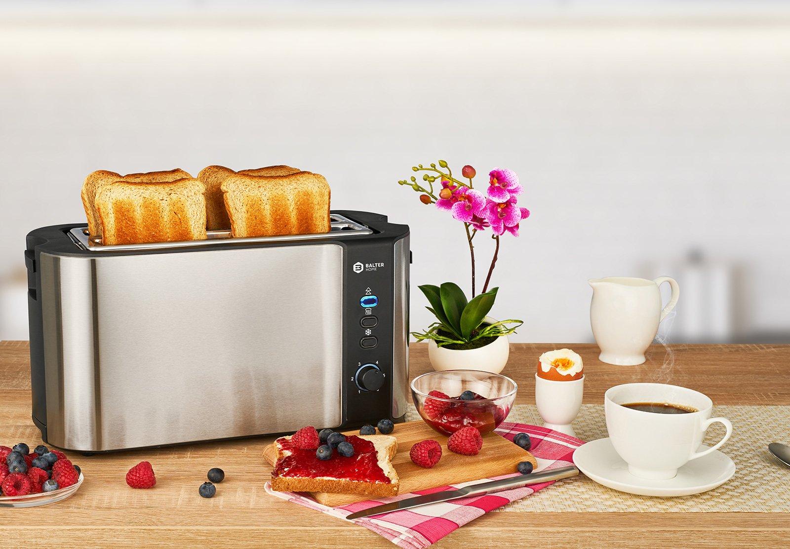 Balter-Toaster-4-Scheiben-Langschlitz–Brtchenaufsatz–Auftaufunktion–Brotzentrierung–Krmelschublade–Edelstahlgehuse–Farbe-Silber