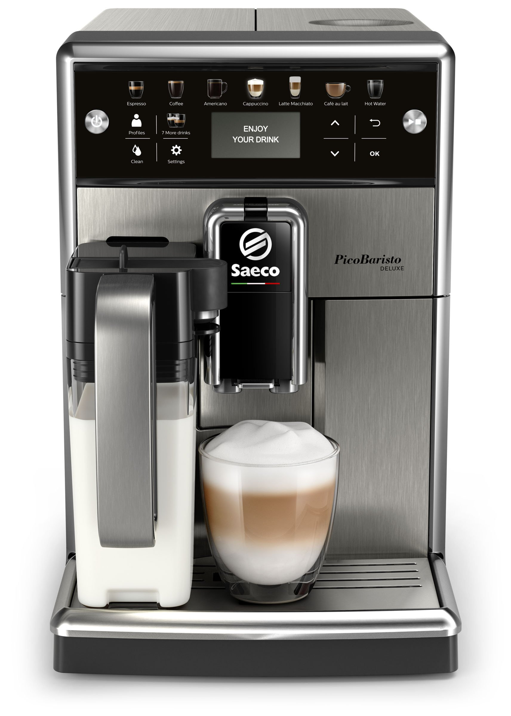 Saeco-PicoBaristo-Deluxe-Kaffeevollautomat-LED-Display-integriertes-Milchsystem